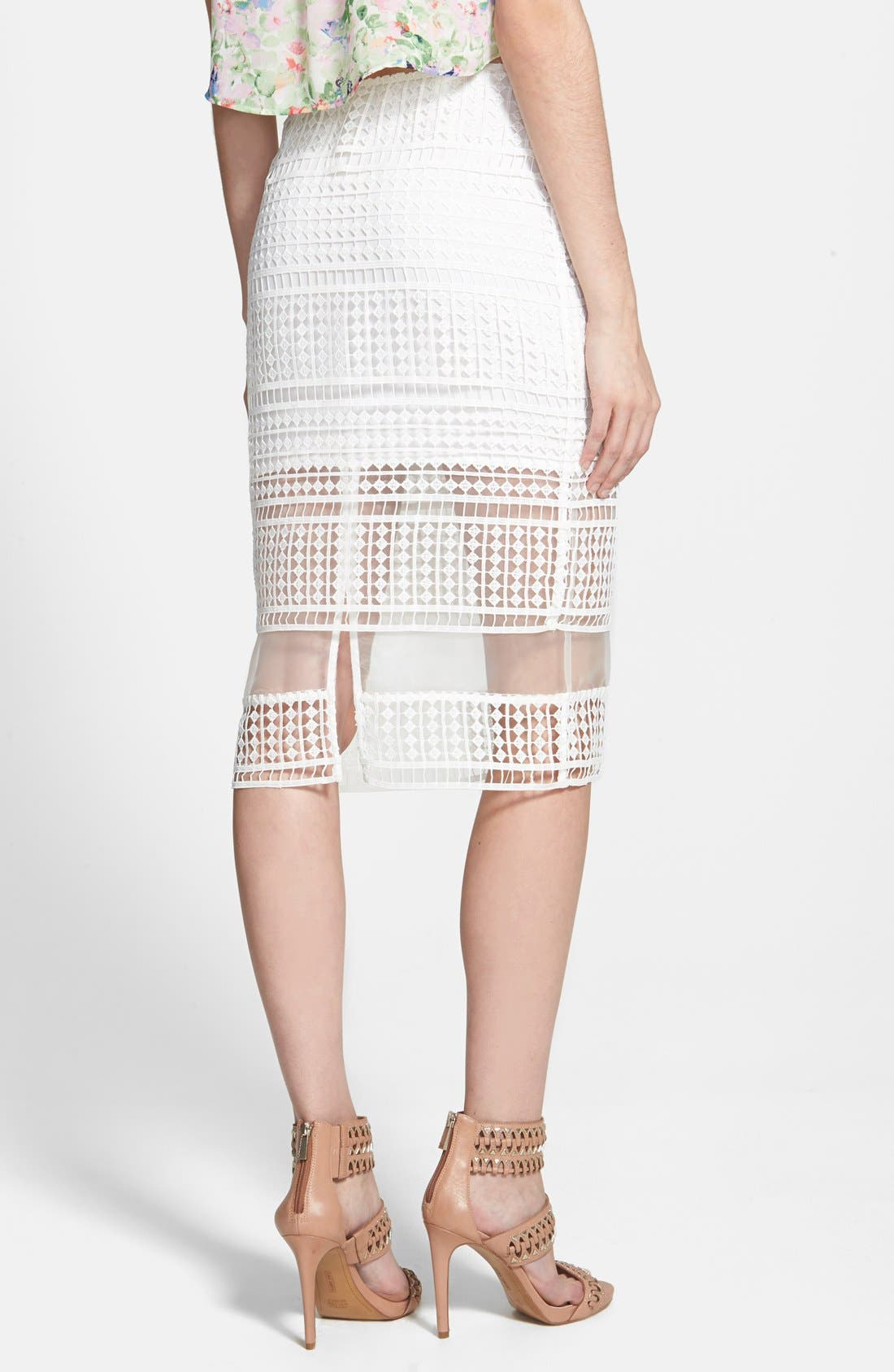 Lace Overlay Pencil Skirt,                             Alternate thumbnail 3, color,                             900