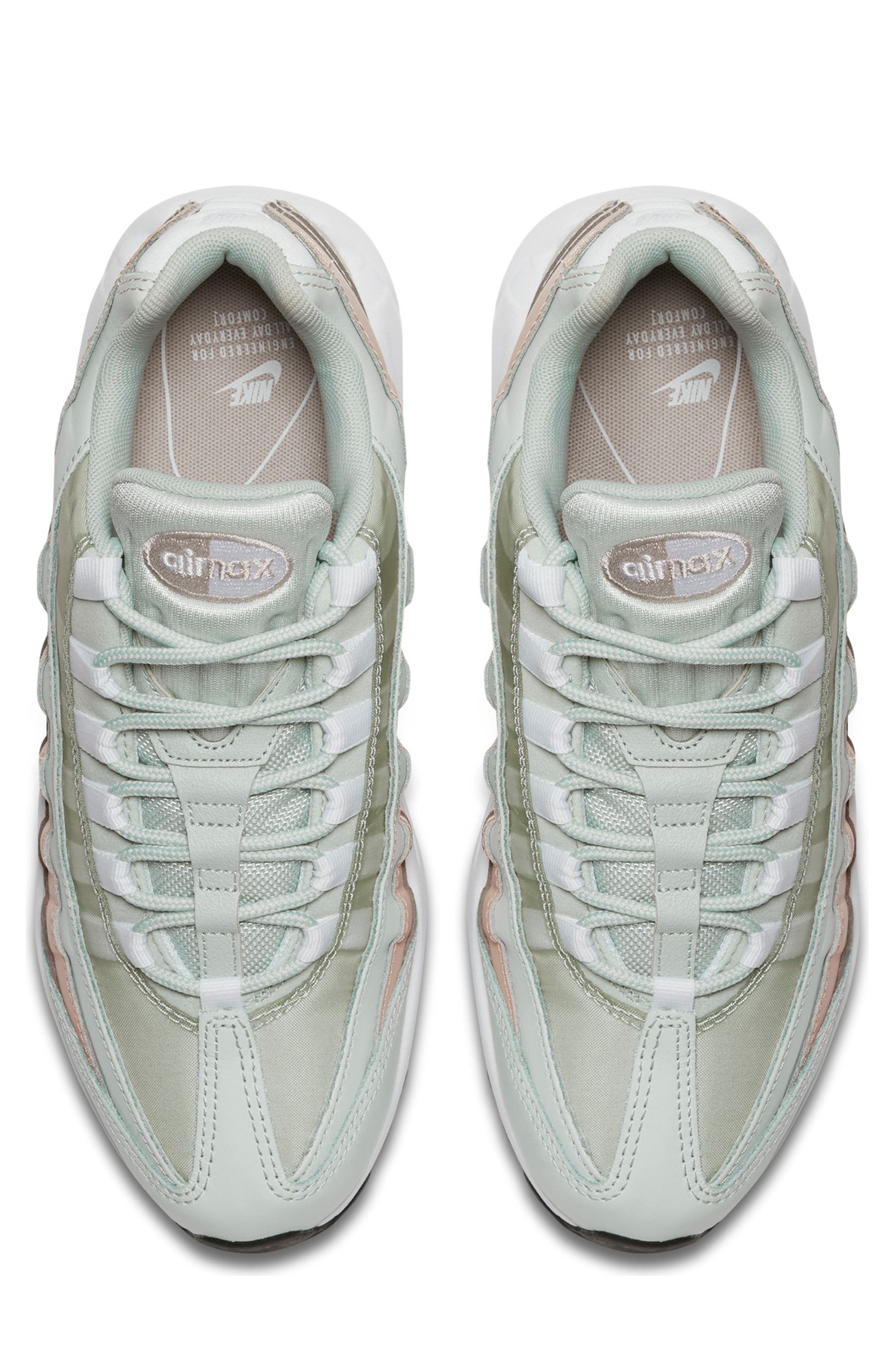 NIKE,                             Air Max 95 Running Shoe,                             Alternate thumbnail 4, color,                             SILVER/ WHITE/ MOON PARTICLE