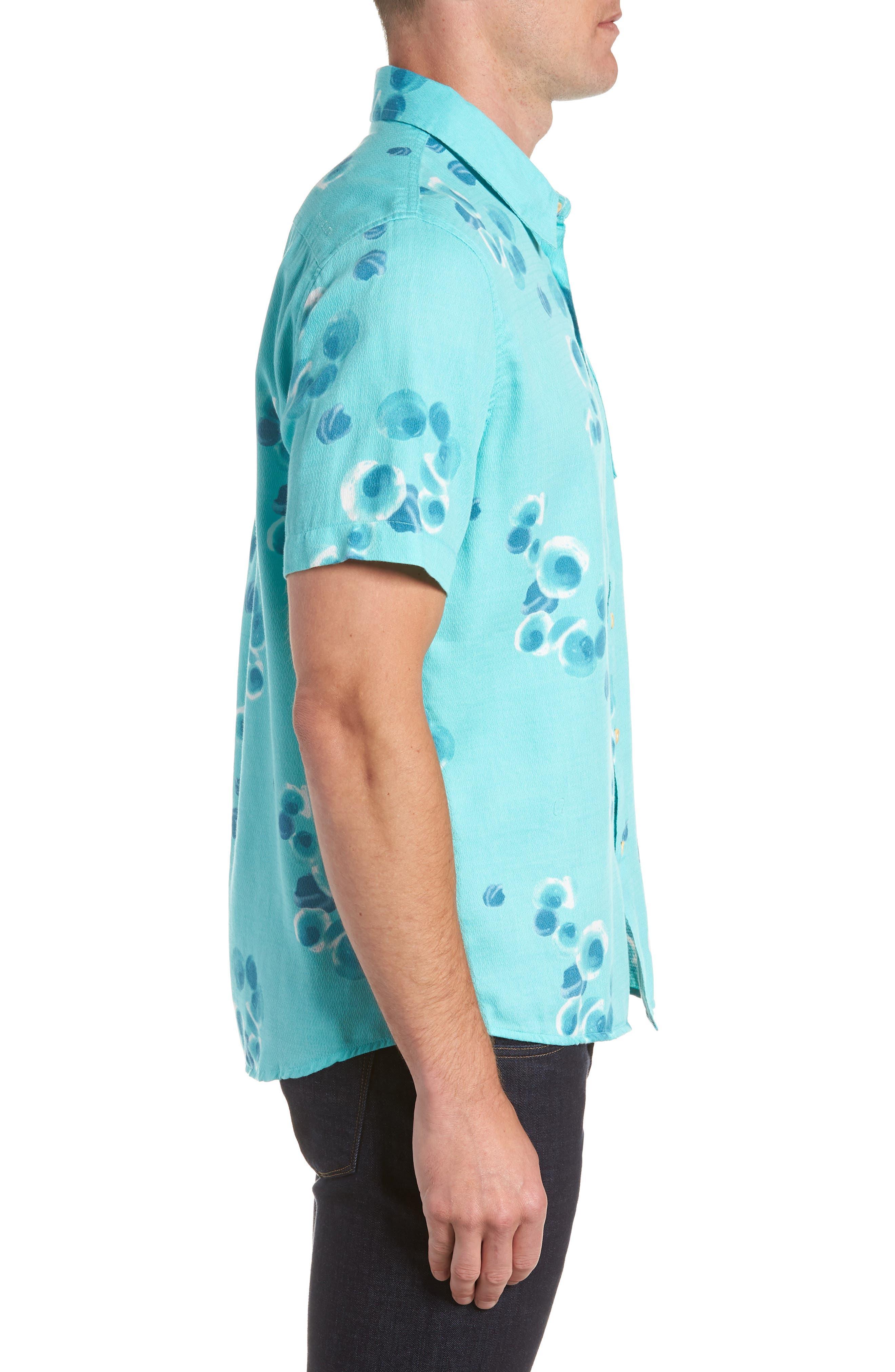 Plumes Dune Regular Fit Sport Shirt,                             Alternate thumbnail 3, color,                             BLUE RADIANCE