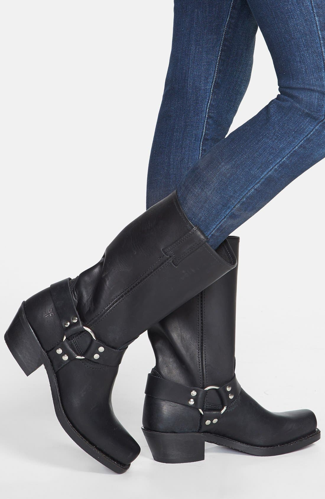 'Harness 12R' Leather Boot,                             Alternate thumbnail 4, color,                             BLACK