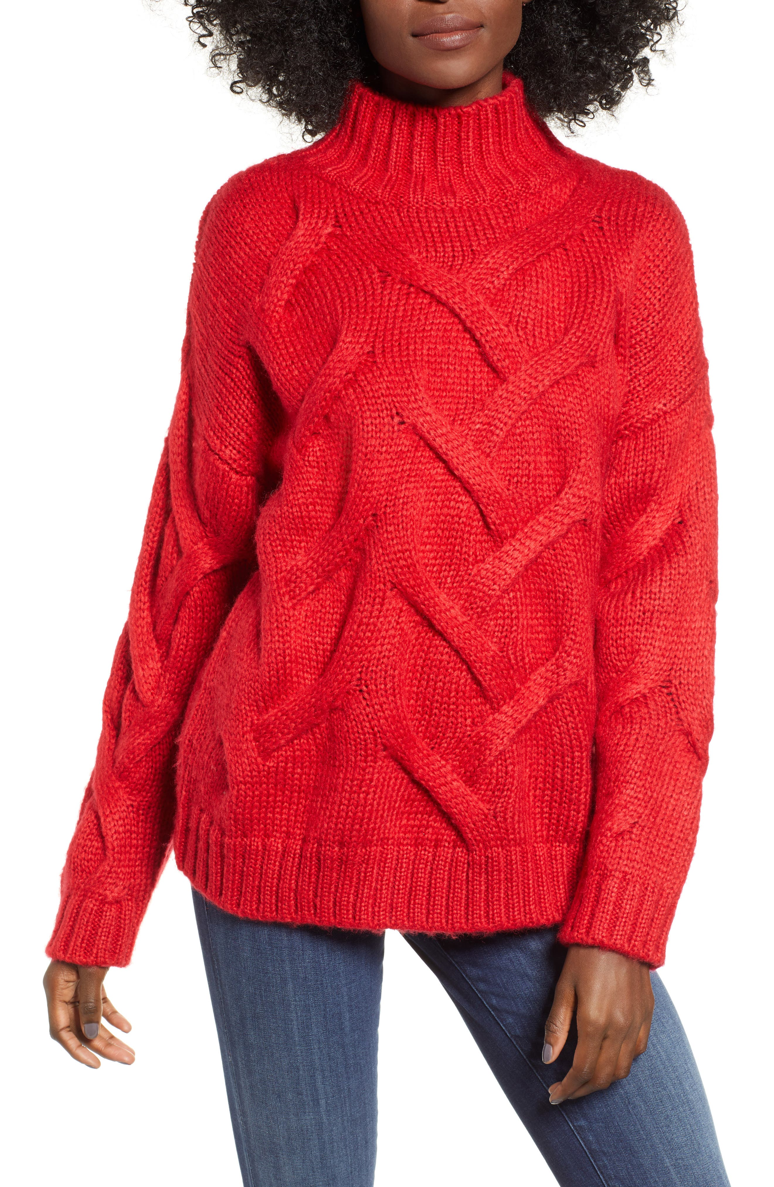 Cable Mock Neck Sweater,                             Main thumbnail 1, color,                             RED