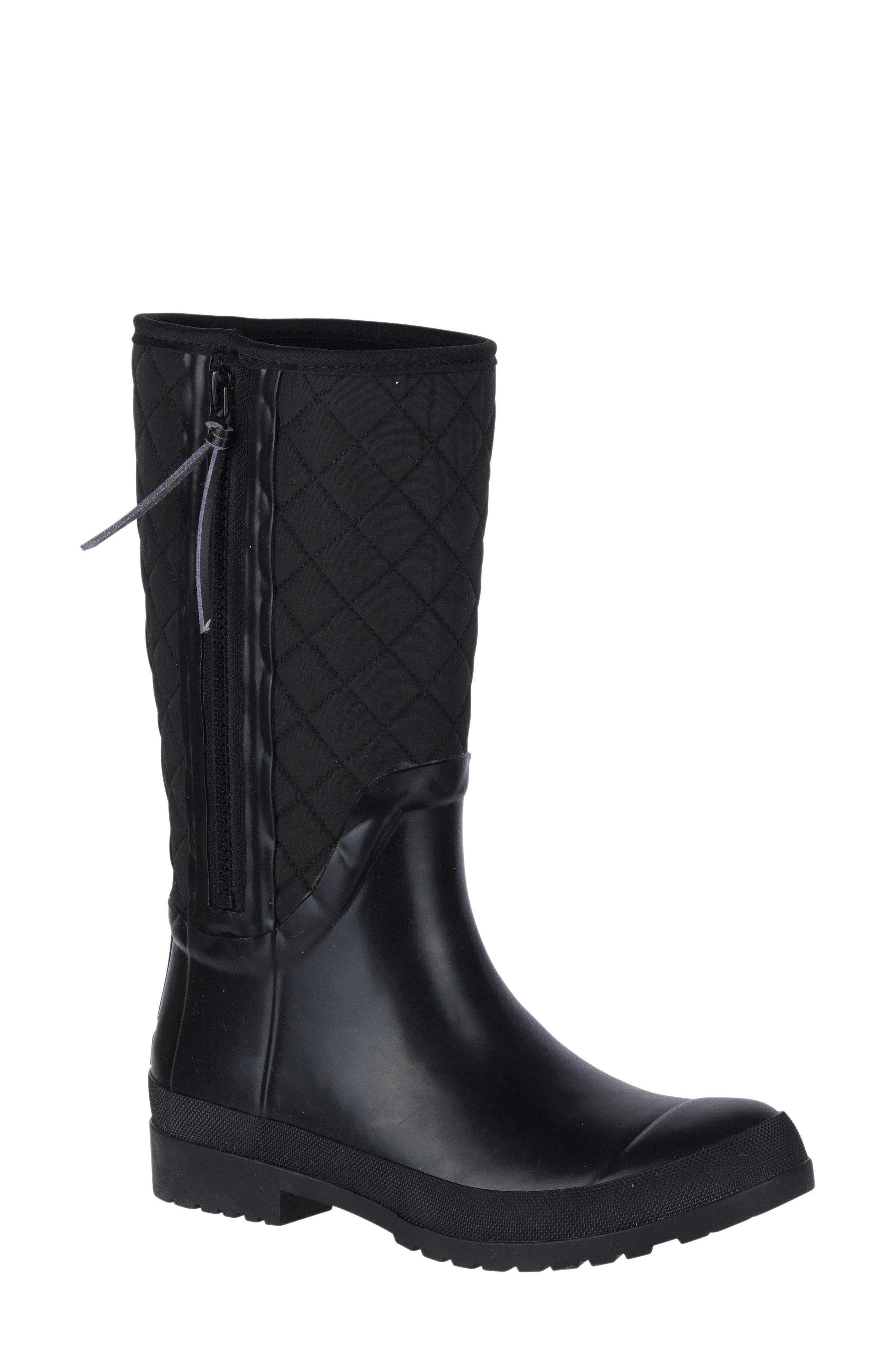 Walker Quilted Rain Boot,                             Main thumbnail 1, color,                             001