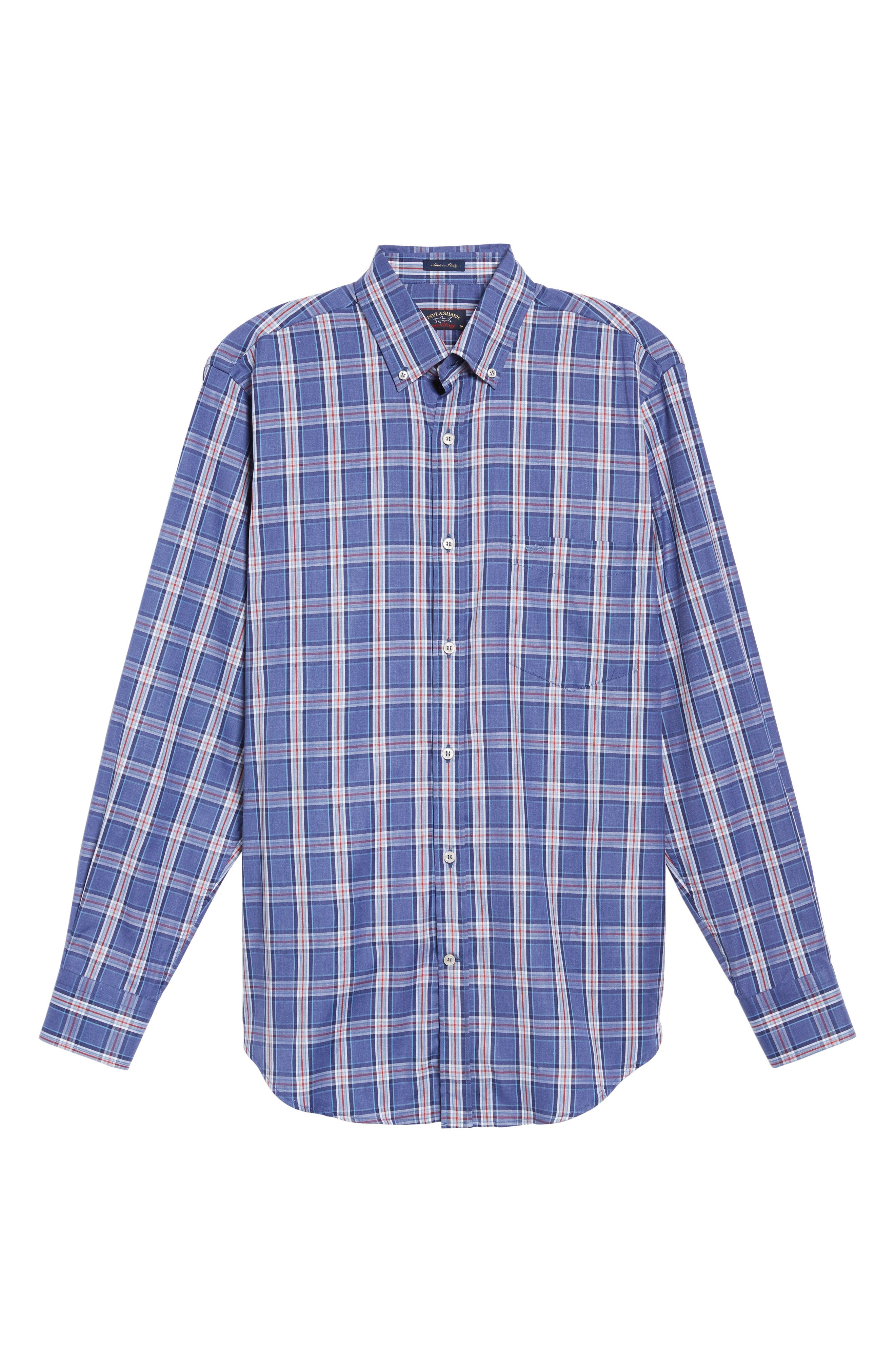 Paul&Shark Plaid Sport Shirt,                             Alternate thumbnail 6, color,                             400