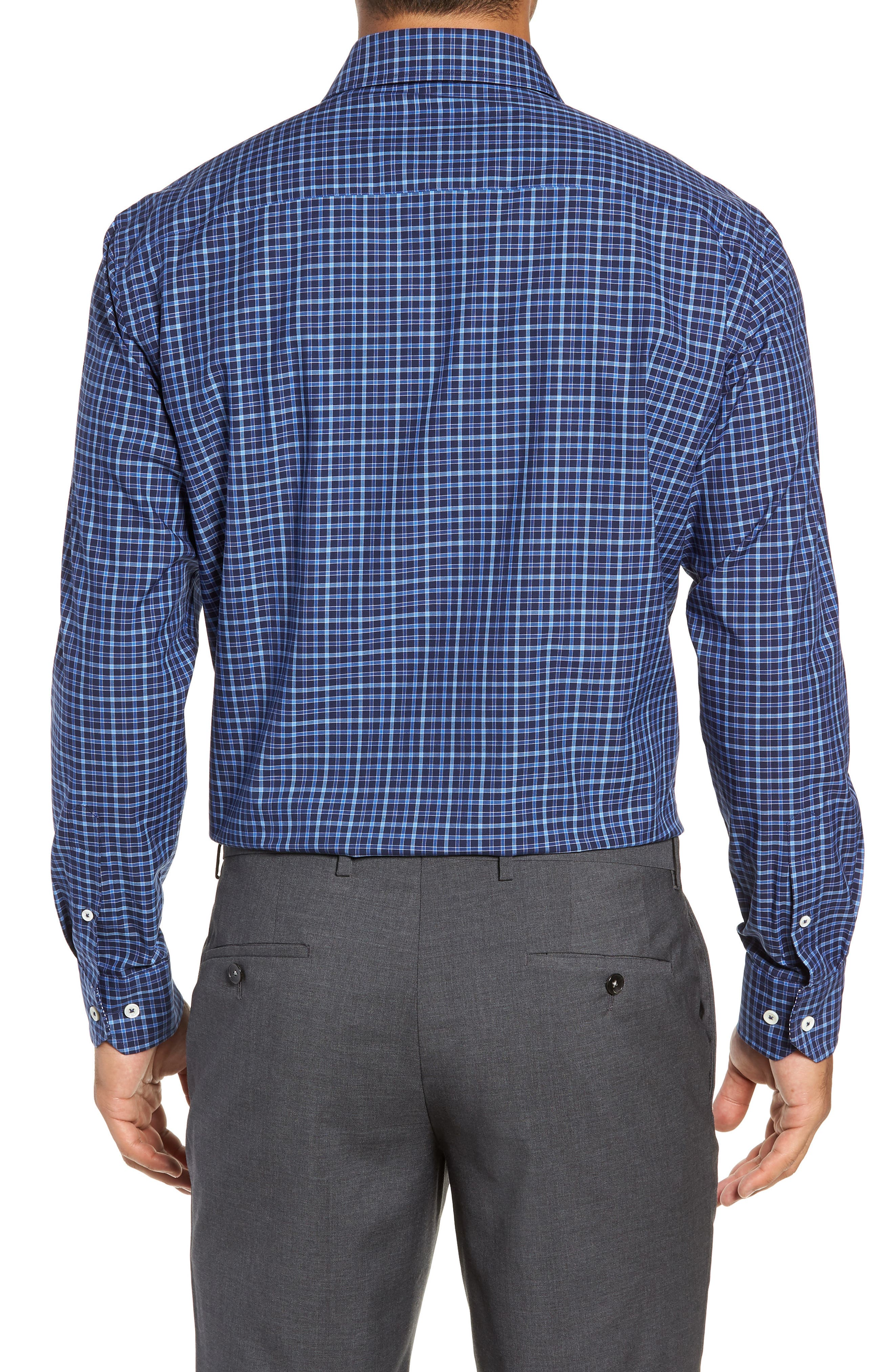 Trim Fit Check Dress Shirt,                             Alternate thumbnail 3, color,                             MIDNIGHT
