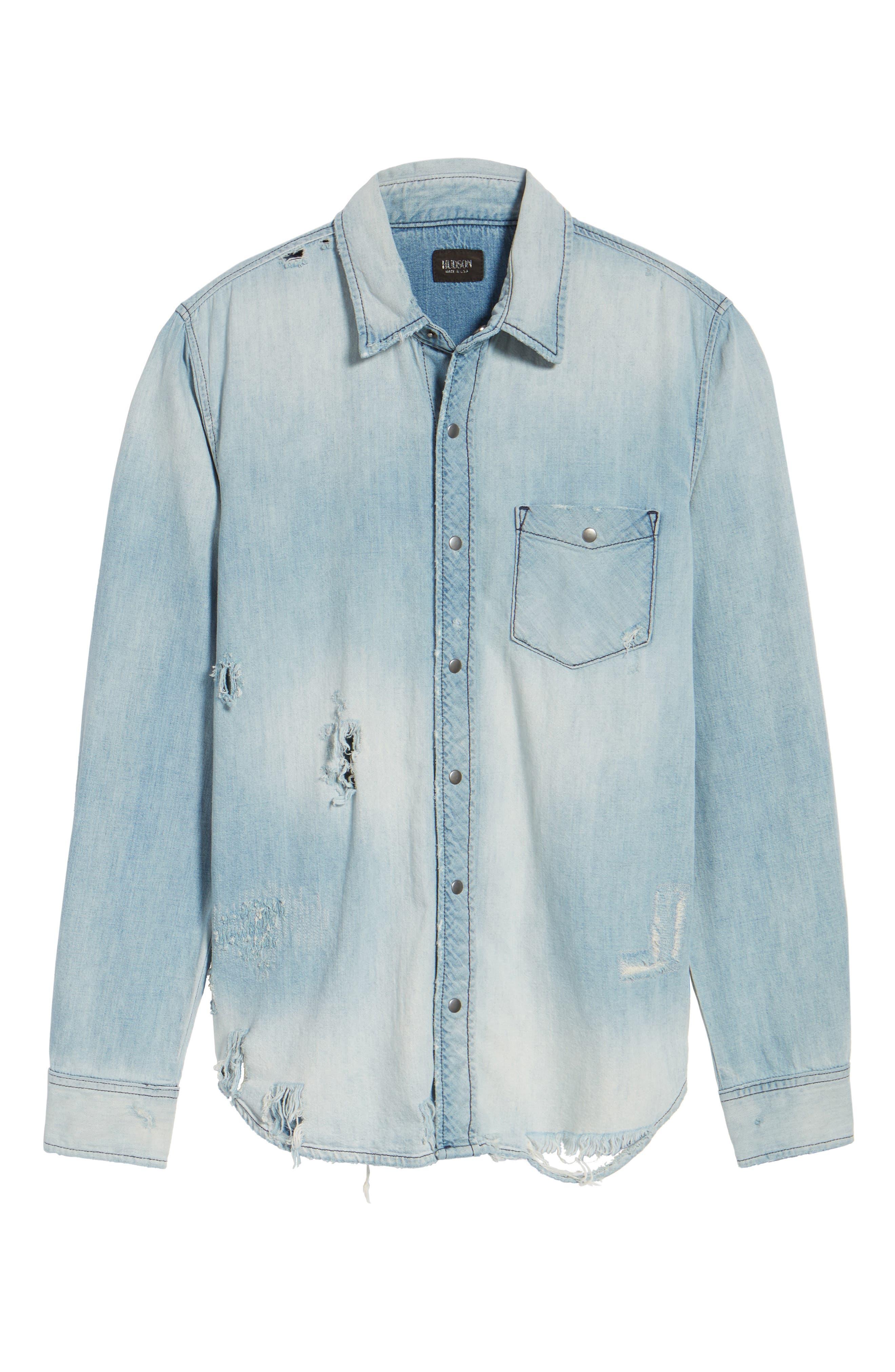 Hudson Slim Fit Destructed Denim Shirt,                             Alternate thumbnail 6, color,