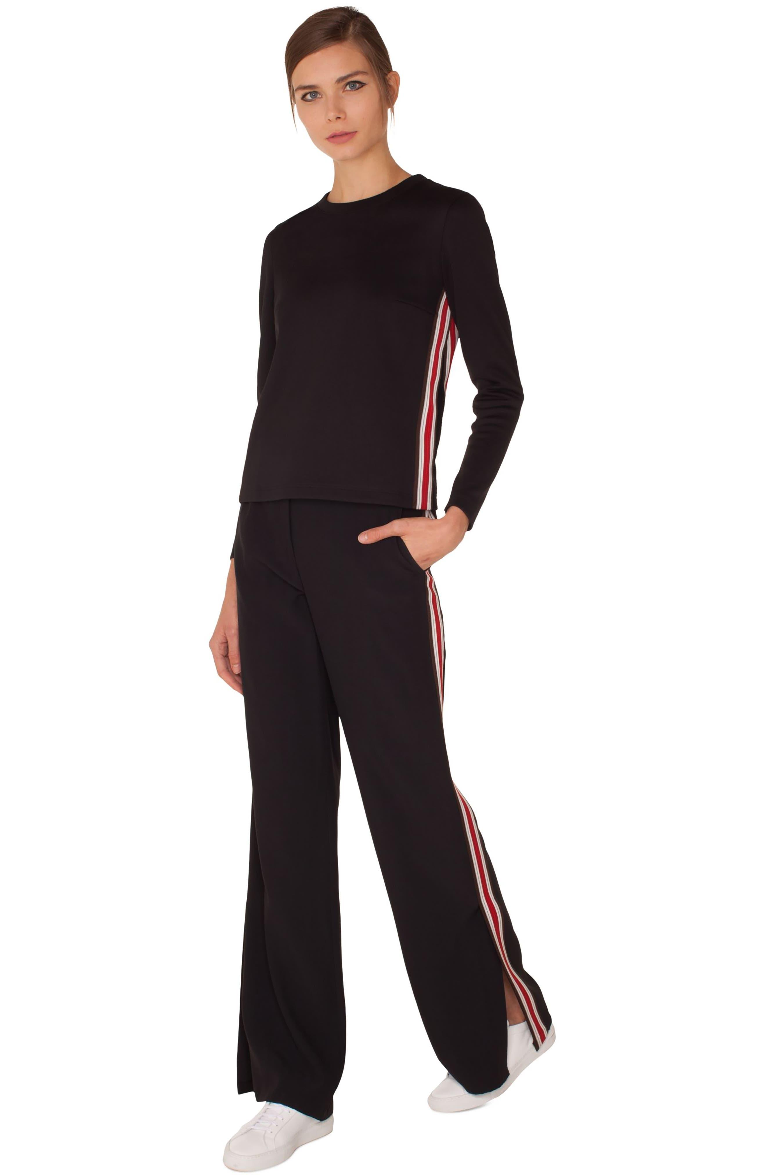 Side Stripe Trousers,                             Alternate thumbnail 4, color,                             BLACK