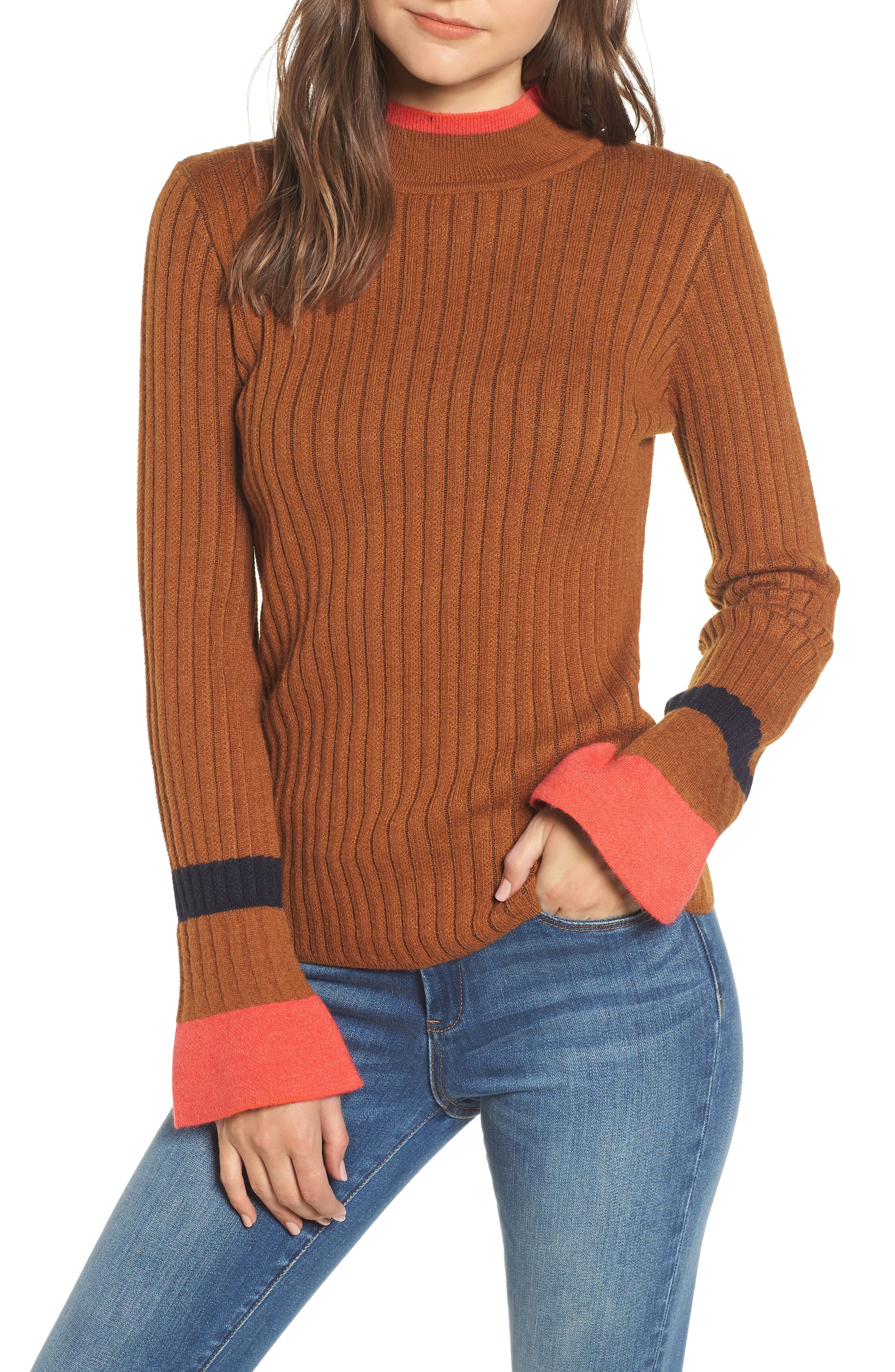 Stripe Bell Sleeve Sweater,                             Main thumbnail 1, color,                             200