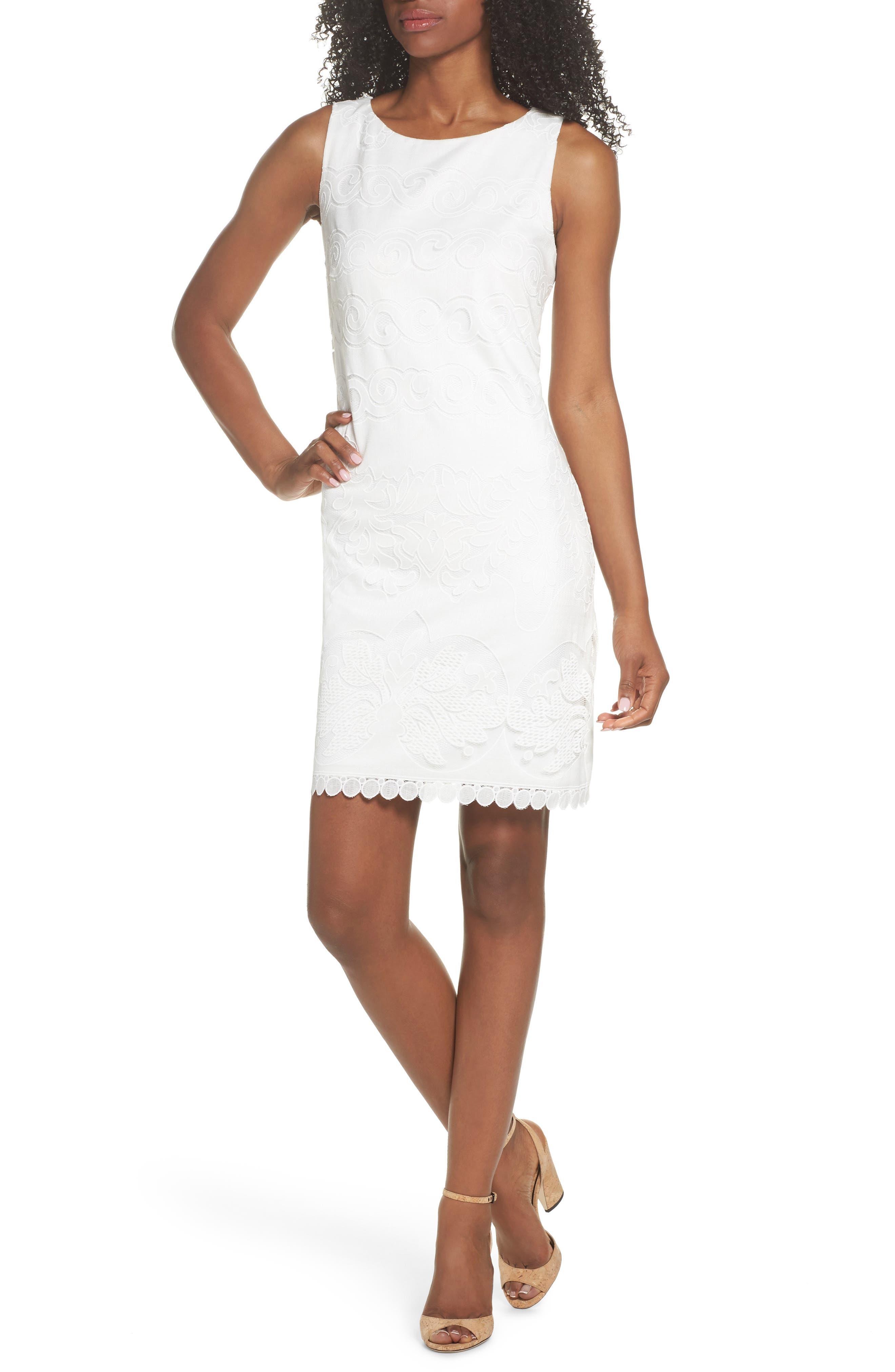Eliza J Lace A-Line Dress, White