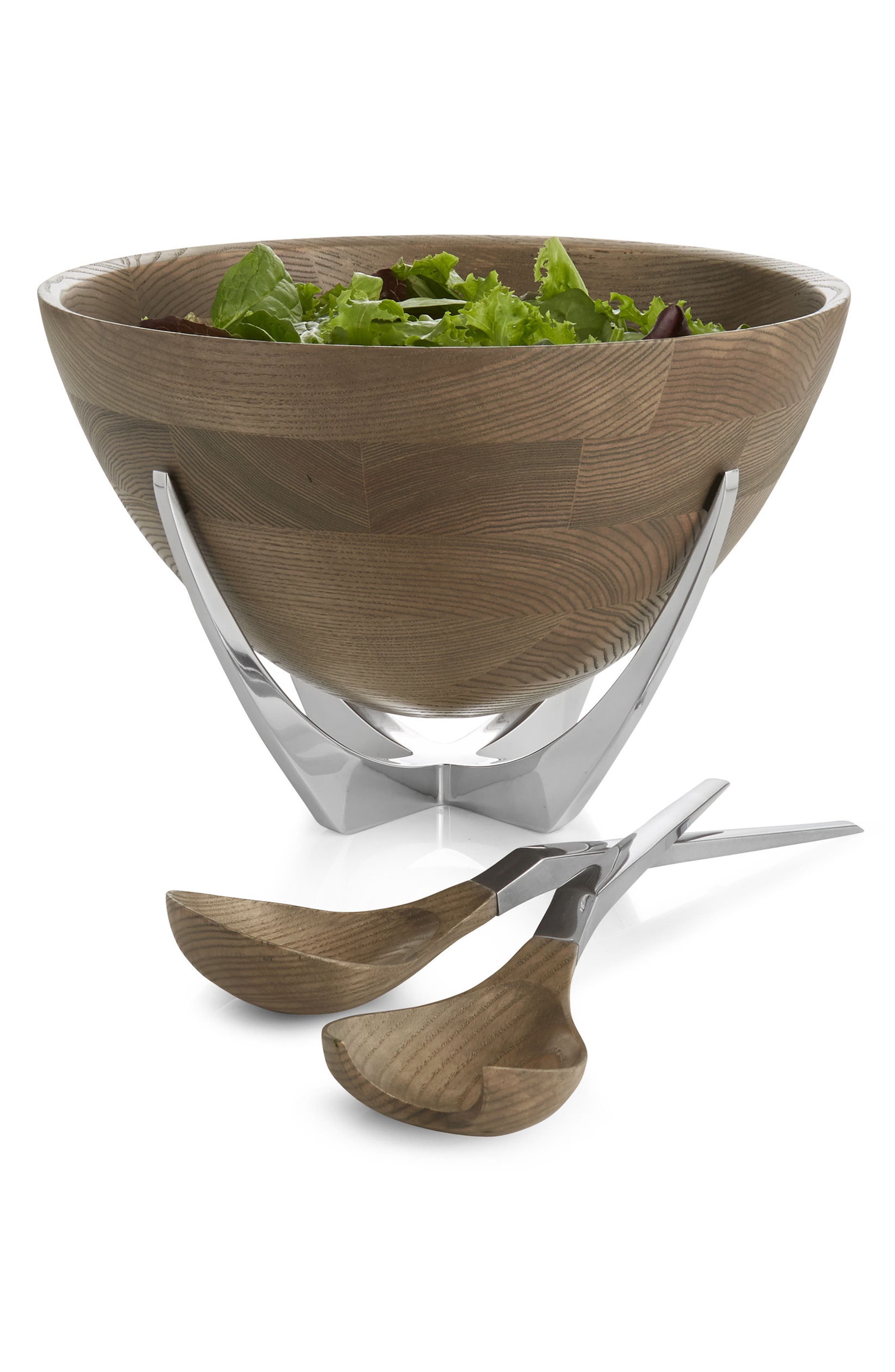 Cabo Salad Bowl & Servers Set,                             Alternate thumbnail 2, color,                             BROWN