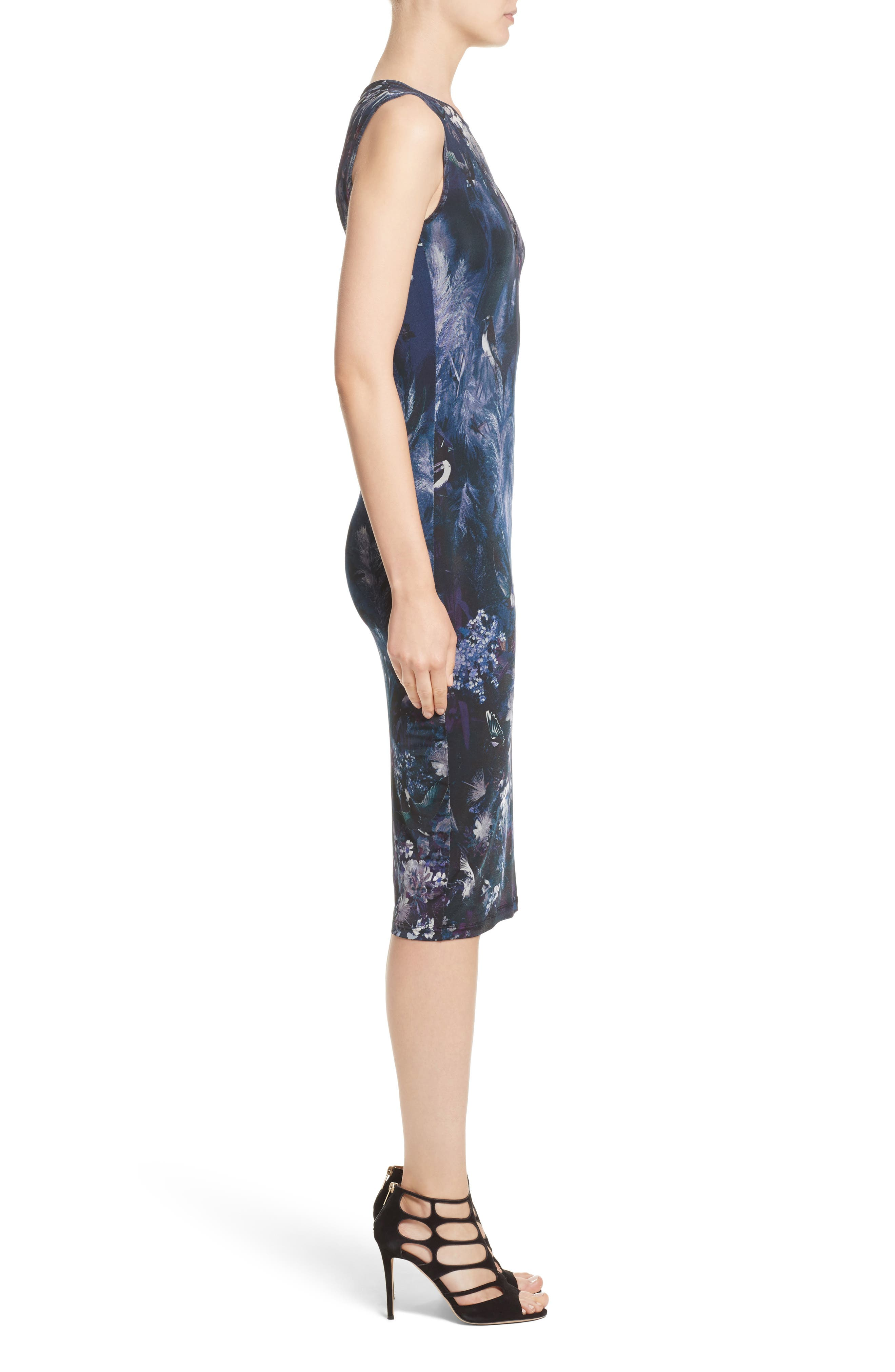 Hummingbird Print Jersey Dress,                             Alternate thumbnail 3, color,                             500