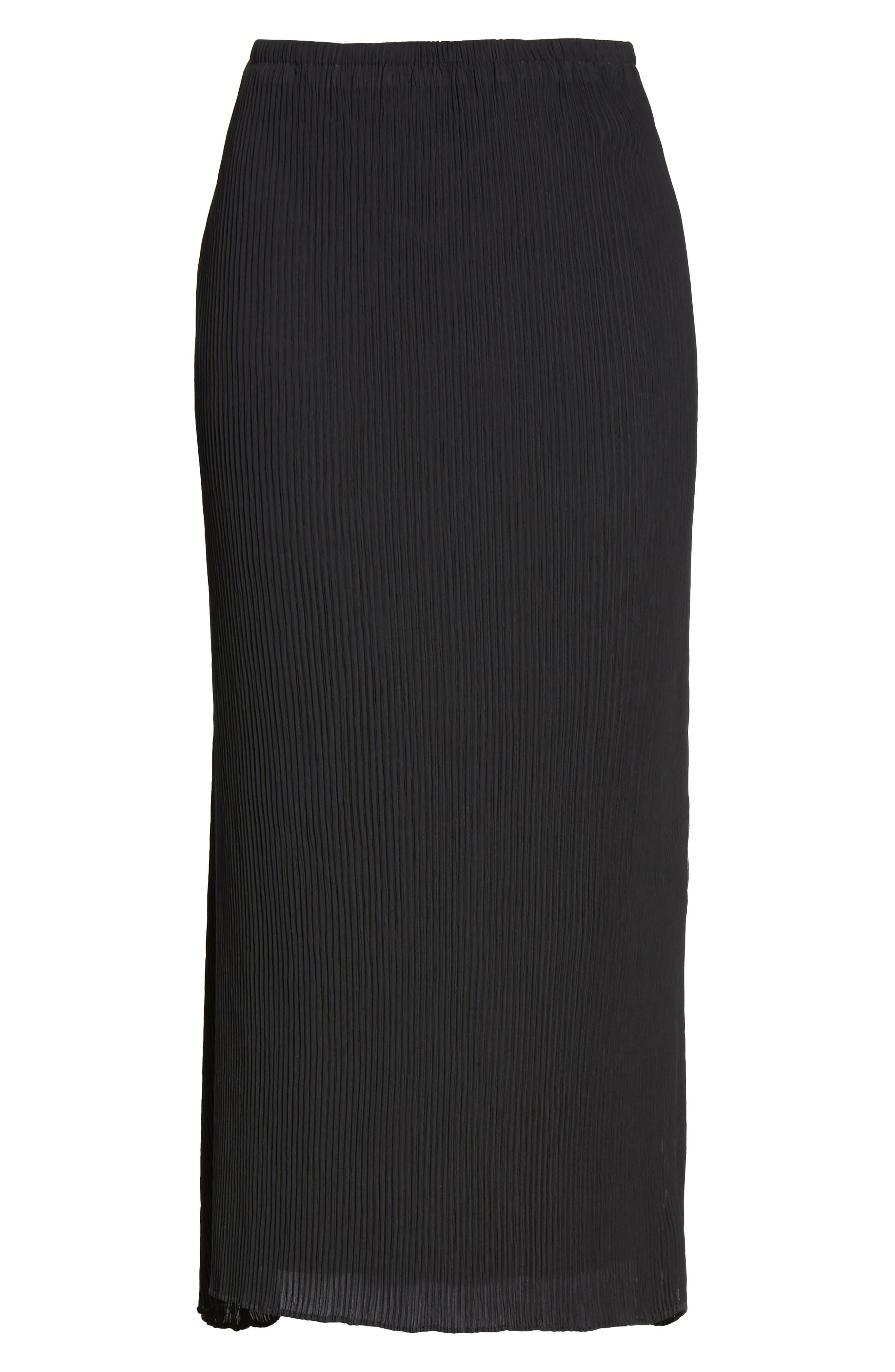 Pleated Midi Skirt,                             Alternate thumbnail 6, color,                             001