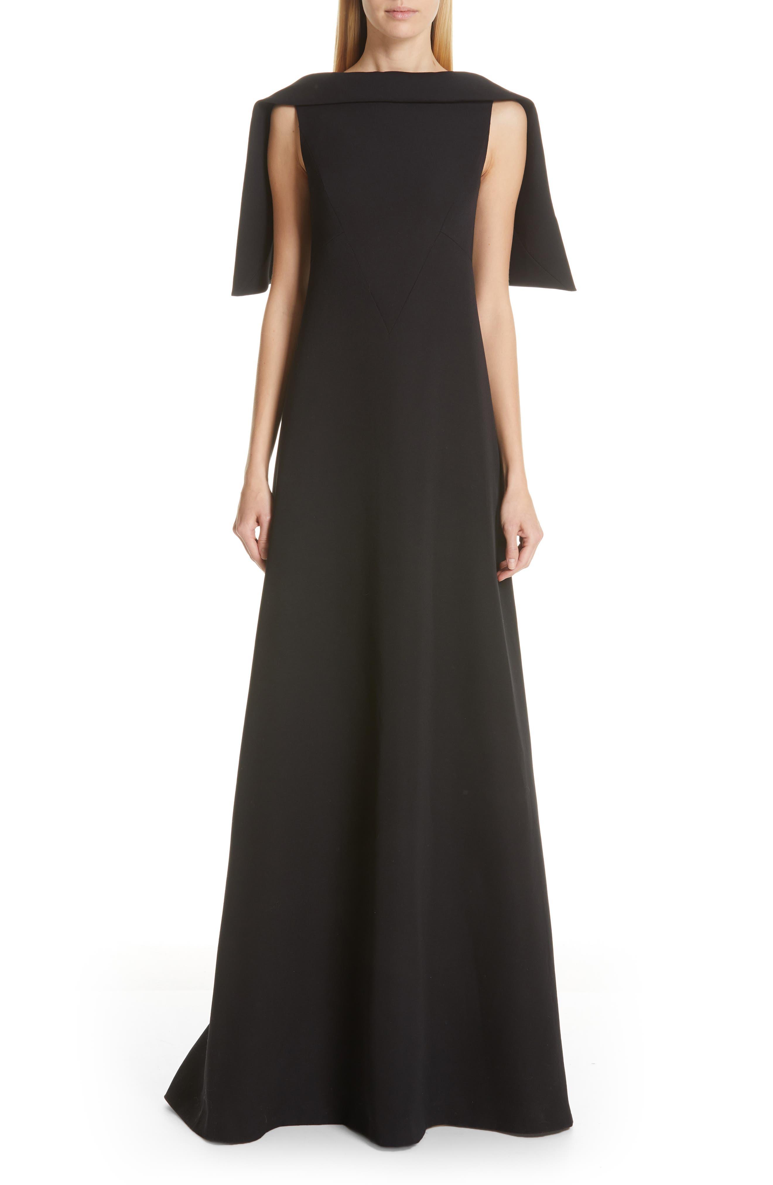 Givenchy Embellished Cape Wool Dress, 6 FR - Black
