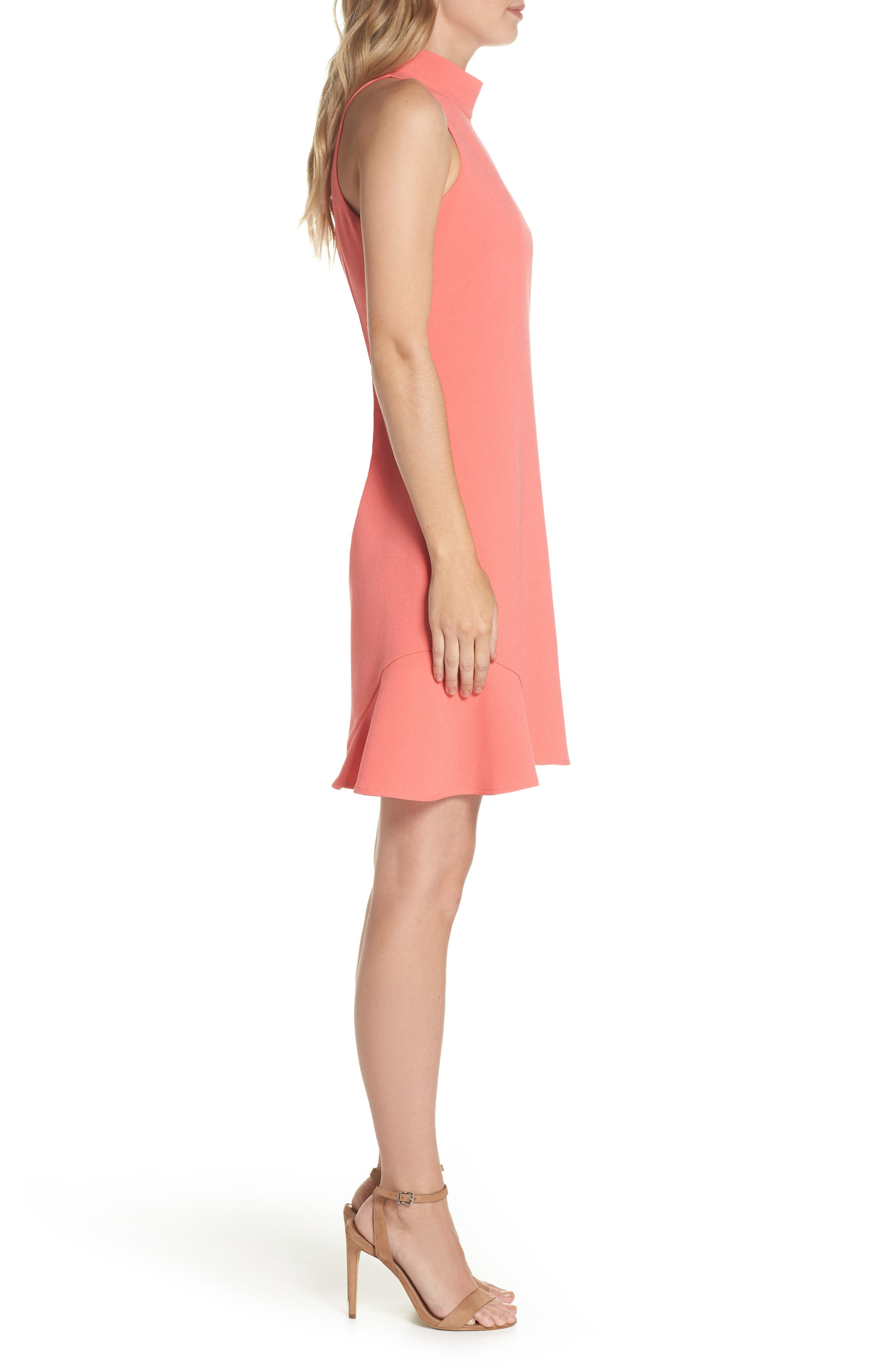 Mock Neck Crepe Shift Dress,                             Alternate thumbnail 3, color,                             629
