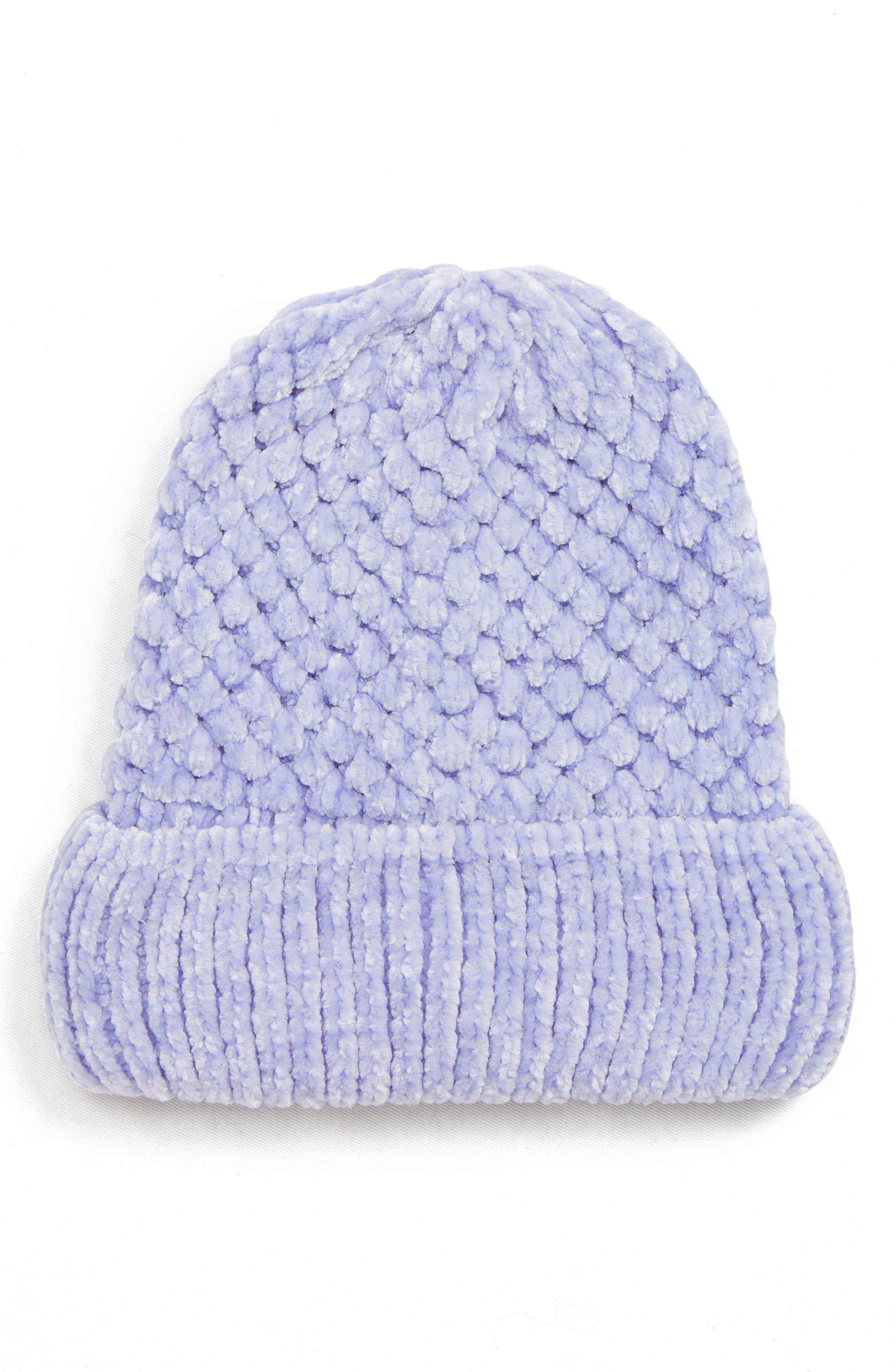 Topshop Chenille Beanie Hat - Purple