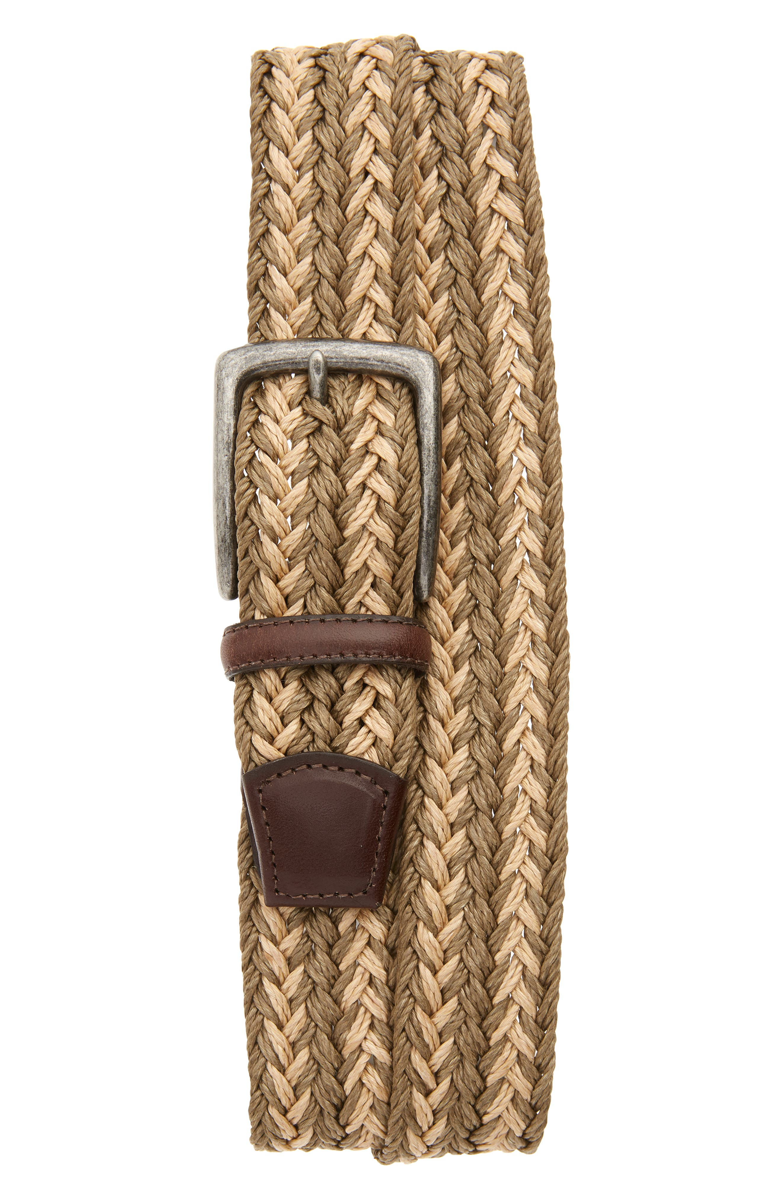 Torino Woven Linen Belt, Taupe/ Camel