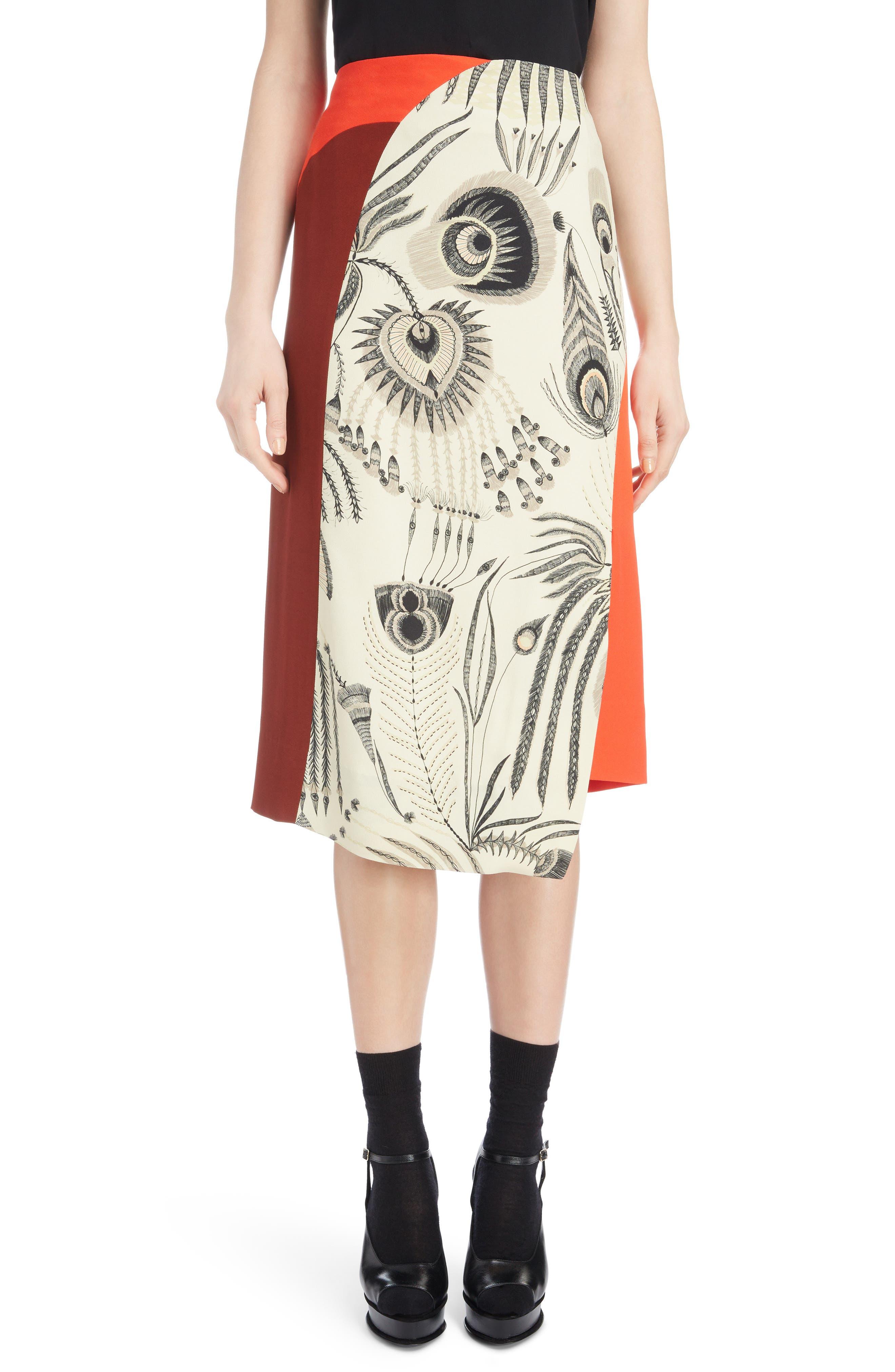 Asymmetrical Colorblock Print Skirt,                         Main,                         color, ECRU