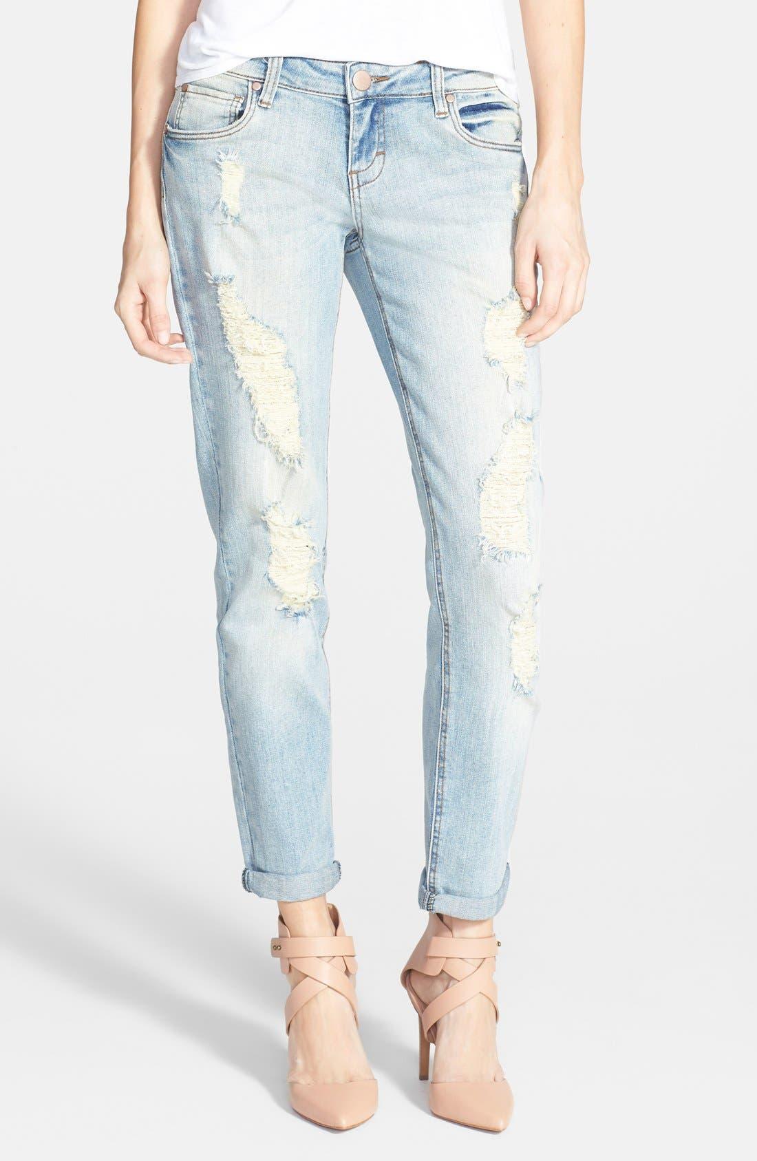 SUN & SHADOW,                             Destroyed Boyfriend Jeans,                             Main thumbnail 1, color,                             450