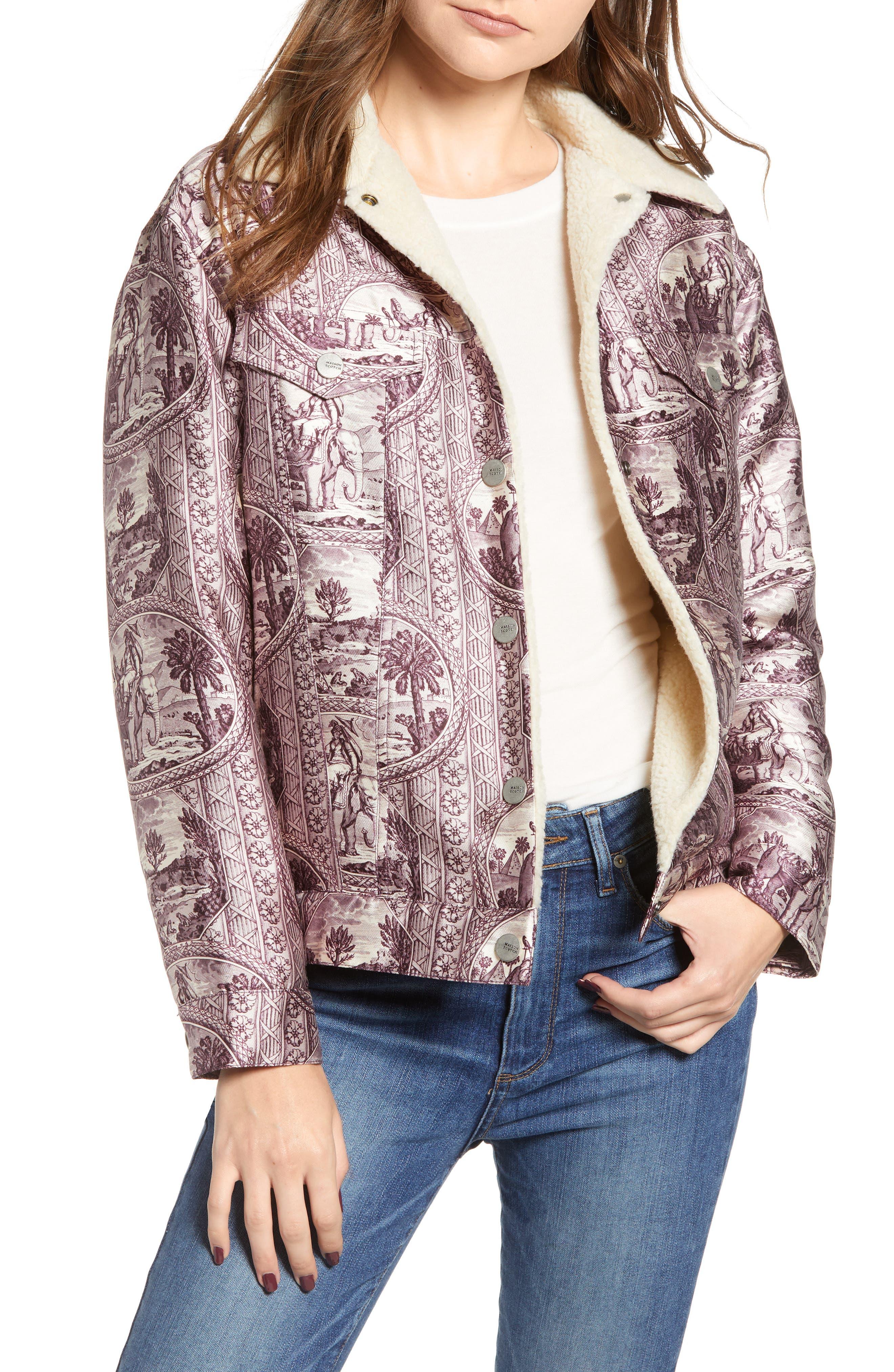 Fleece Lined Print Trucker Jacket,                             Main thumbnail 1, color,                             LILAC ELEPHANT PRINT