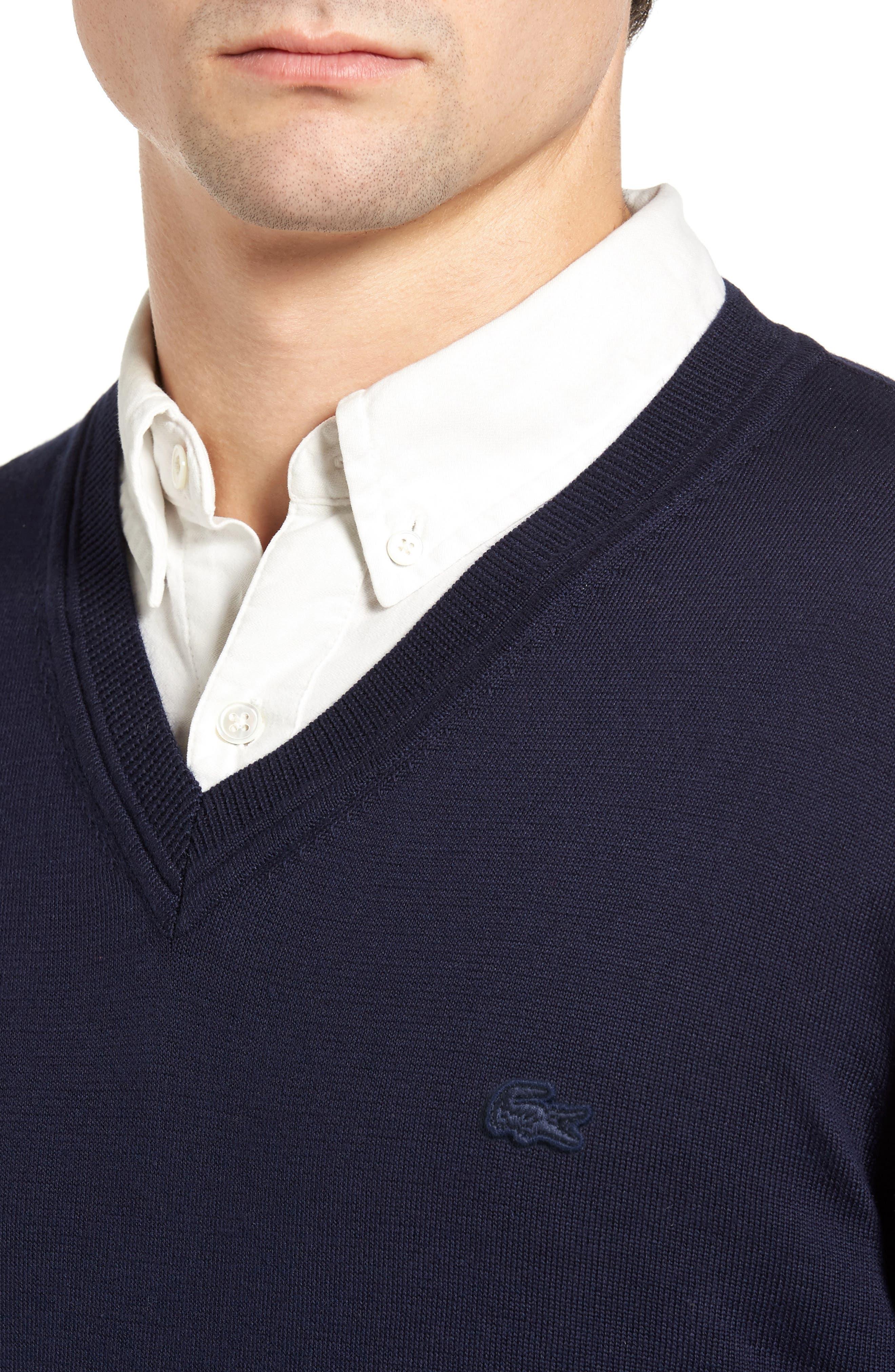 Cotton Jersey V-Neck Sweater,                             Alternate thumbnail 11, color,