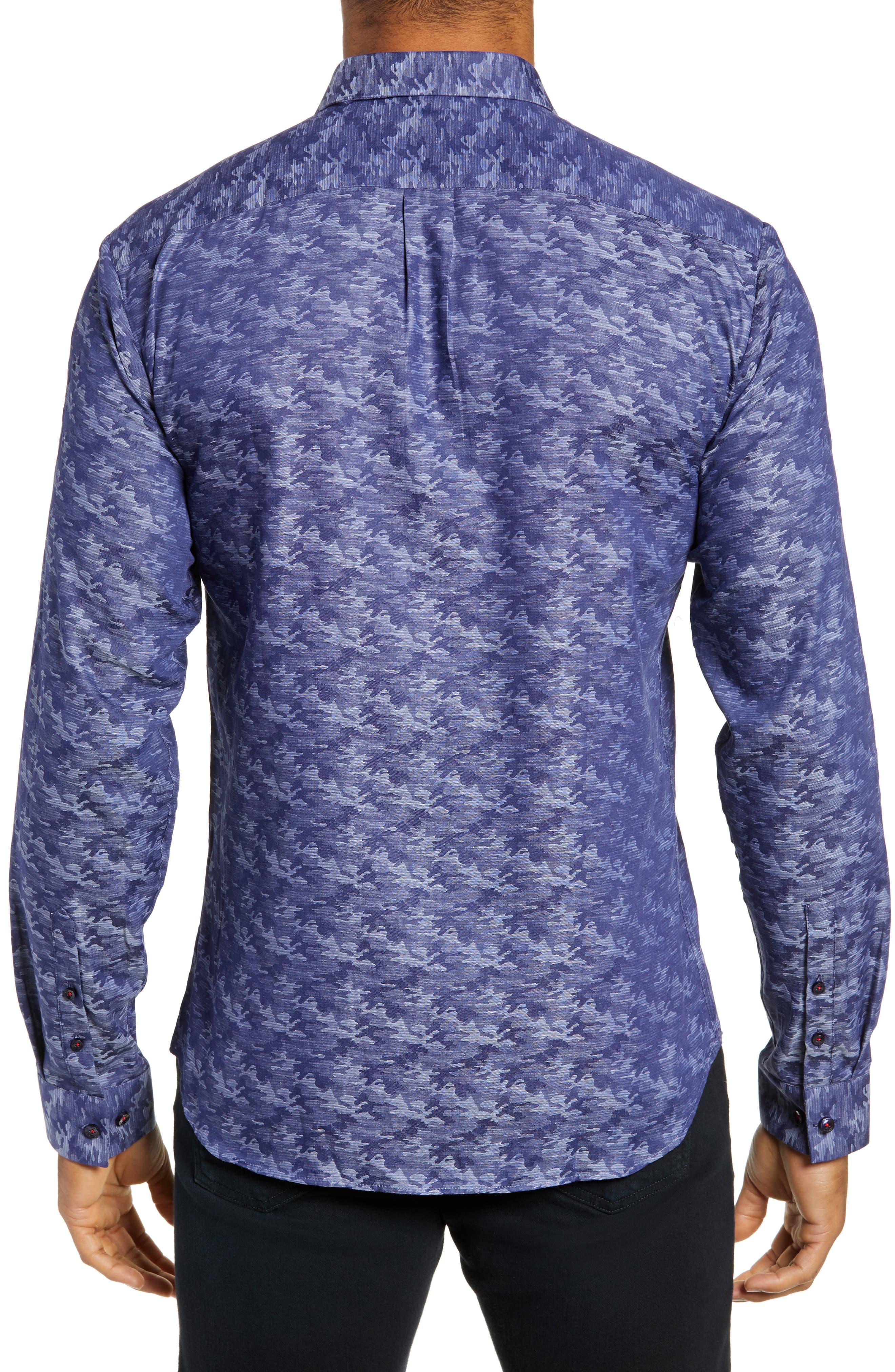 Trim Fit Sport Shirt,                             Alternate thumbnail 3, color,                             BLUE CAMO