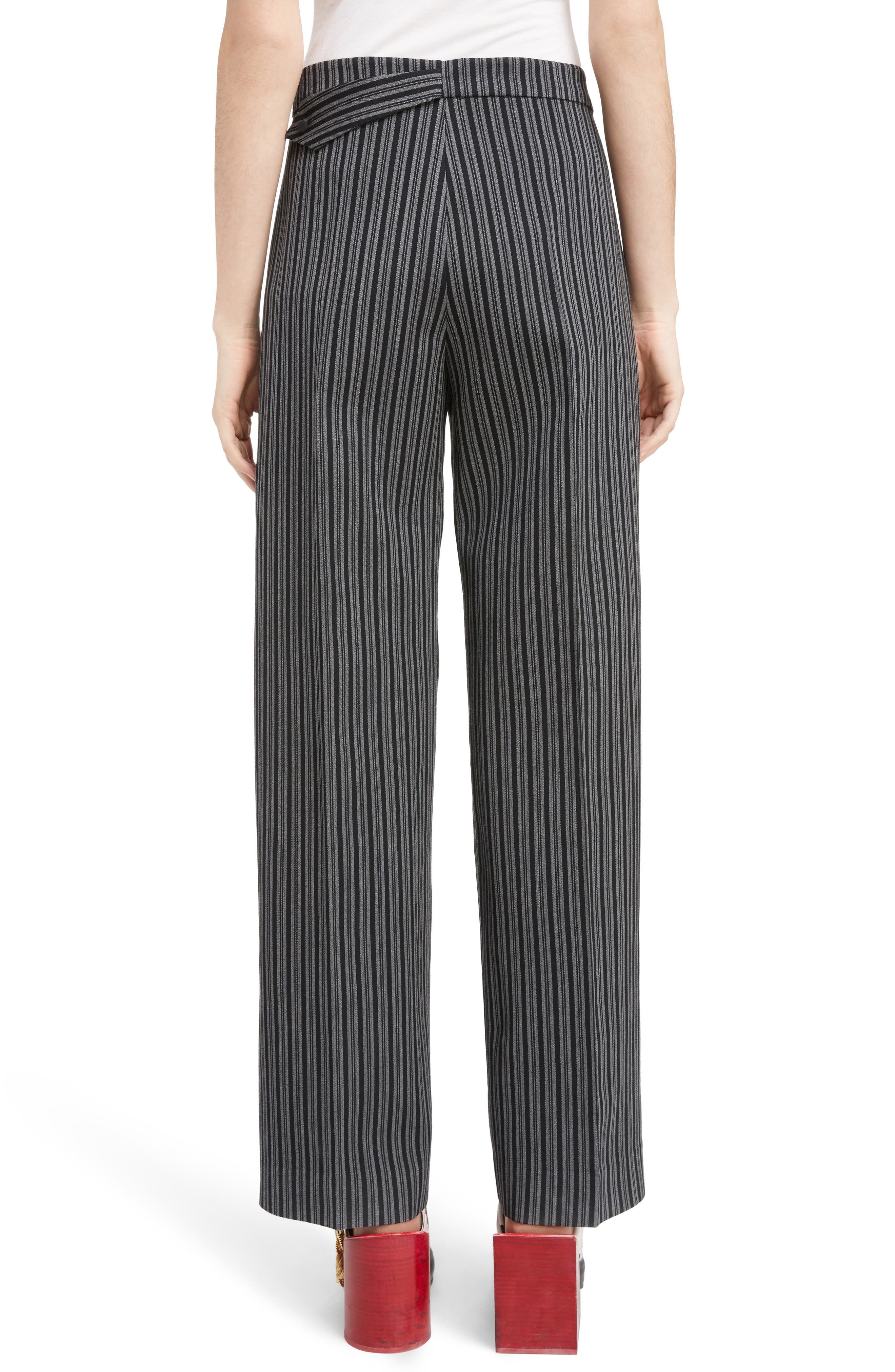 Pinstripe Pleated Wide Leg Wool Pants,                             Alternate thumbnail 2, color,