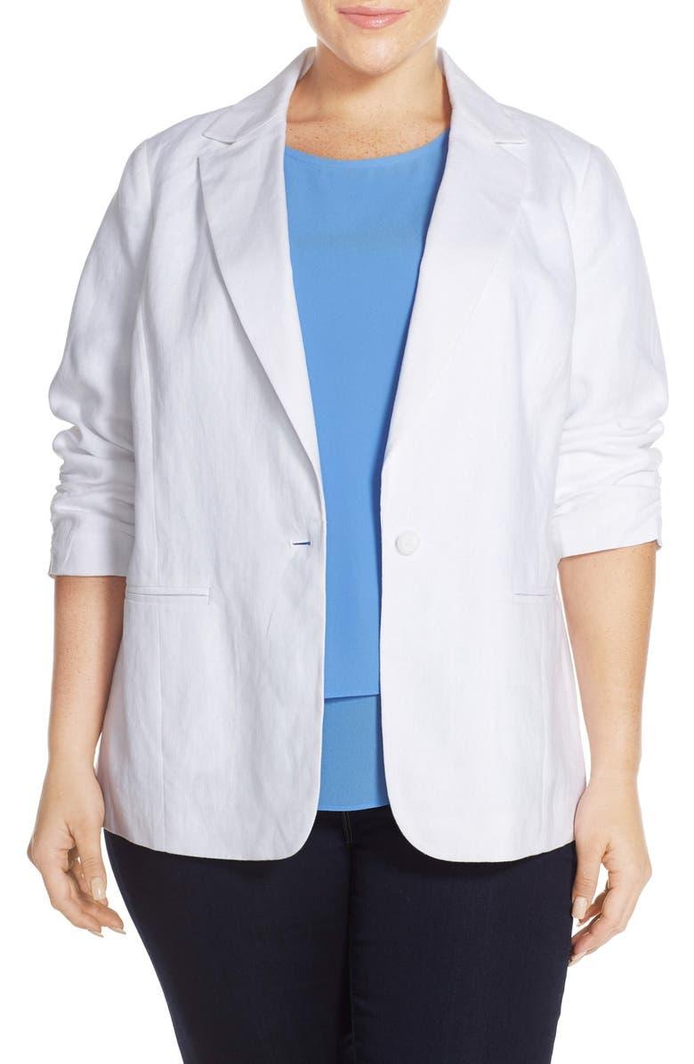 65e32140e2f45 MICHAEL Michael Kors Linen Shirred Sleeve Boyfriend Jacket (Plus ...