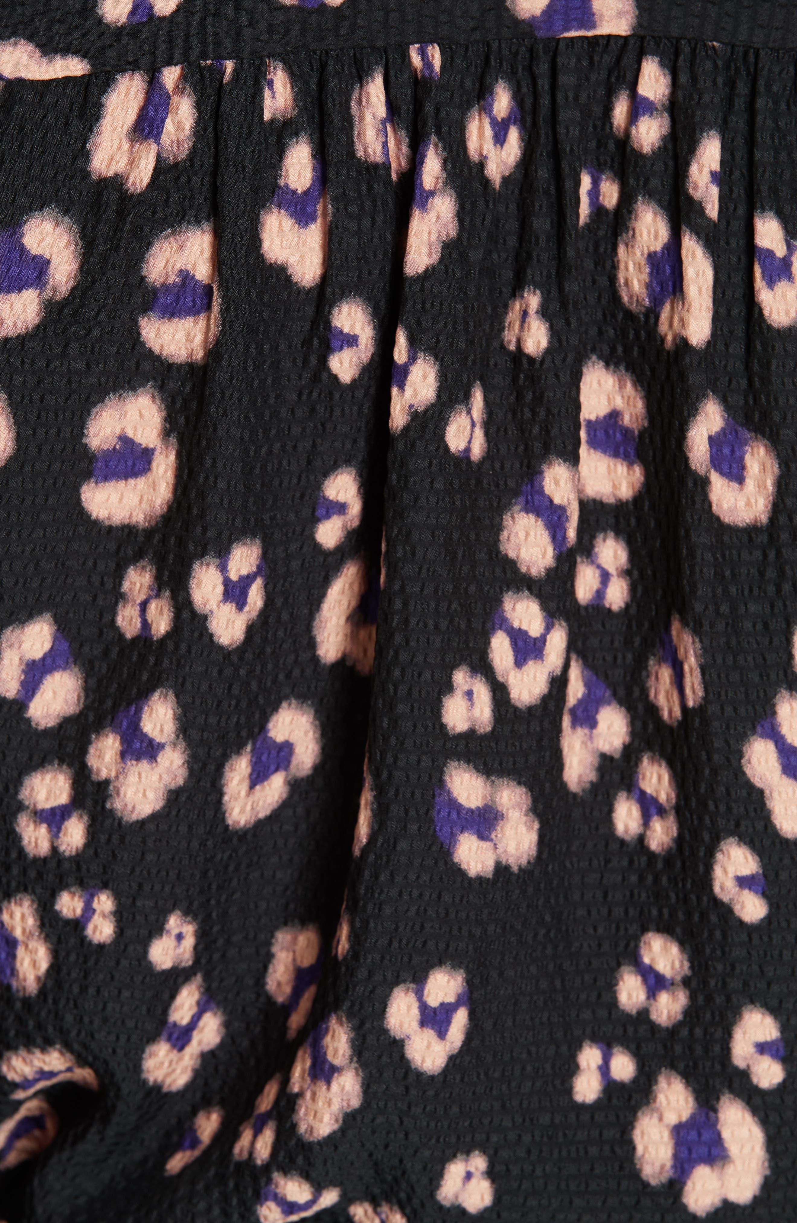 Cheetah Print Silk Top,                             Alternate thumbnail 5, color,                             COPPER COMBO
