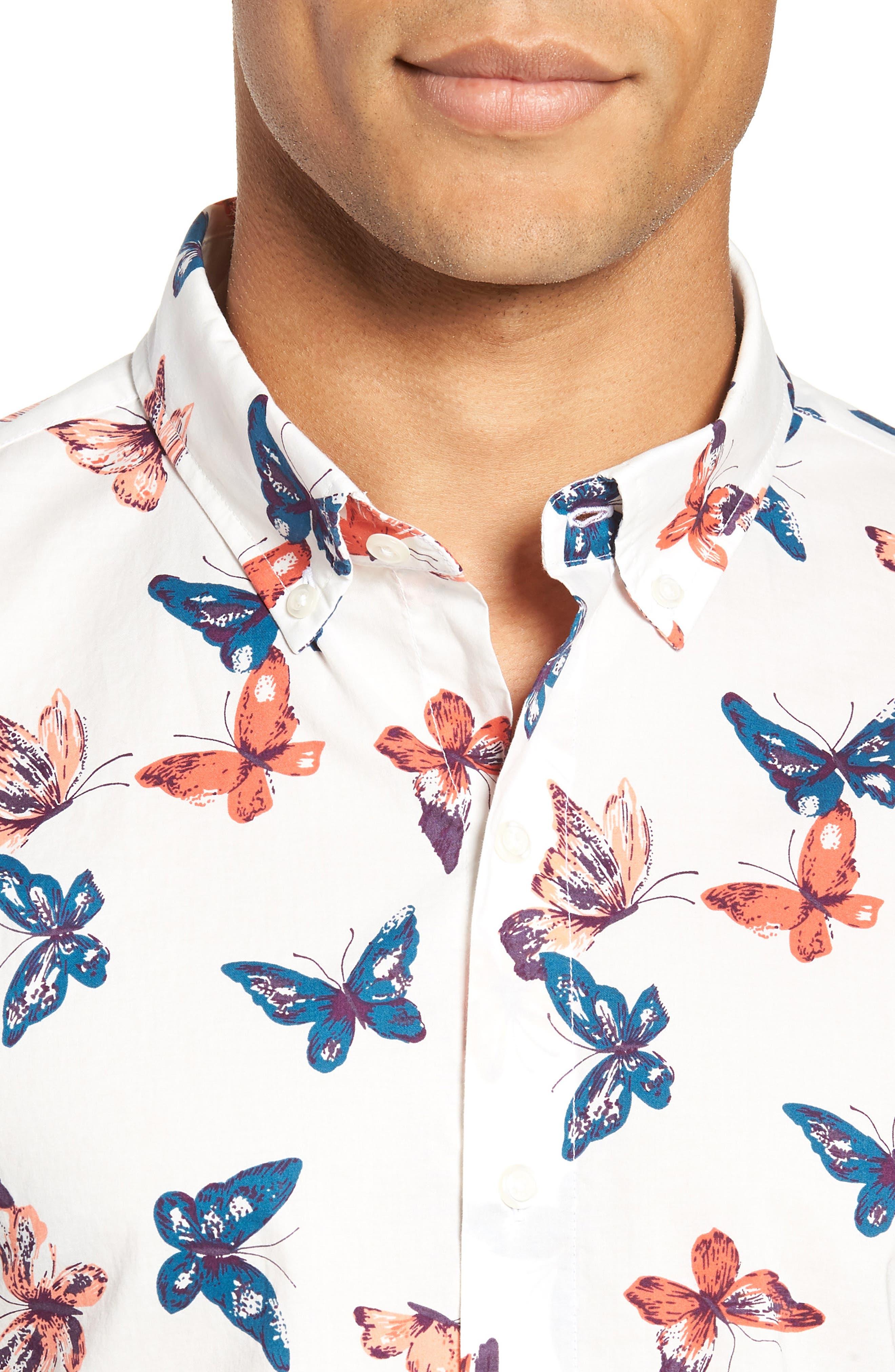 Riviera Butterfly Print Sport Shirt,                             Alternate thumbnail 2, color,                             100