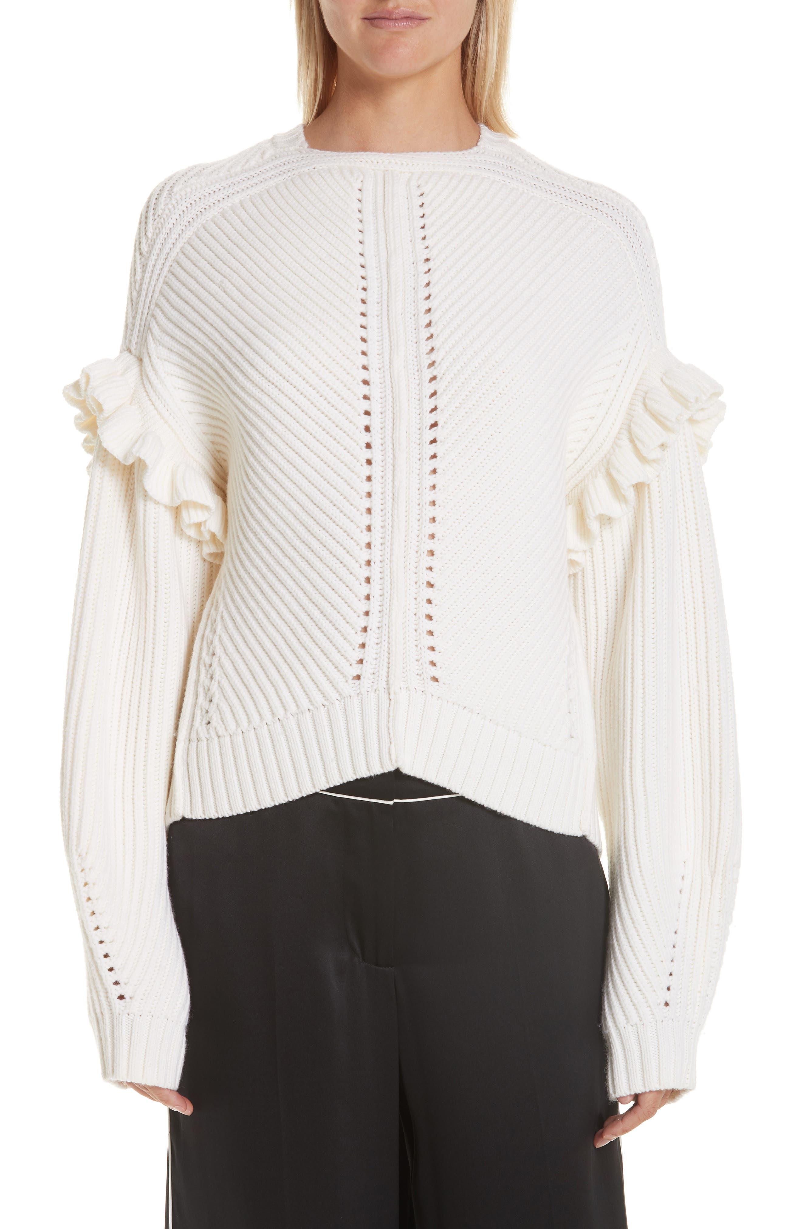 GREY JASON WU Ruffle Trim Merino Wool Sweater in Star White