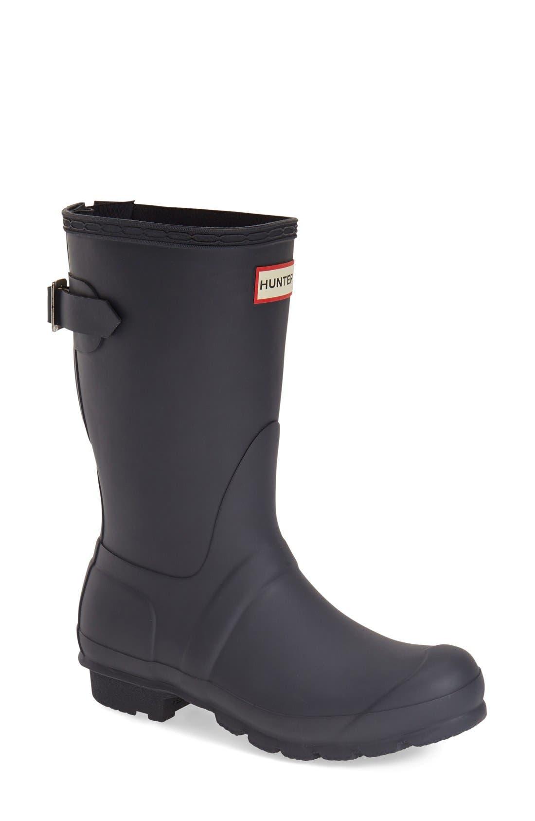 Hunter Original Short Back Adjustable Waterproof Rain Boot, Blue