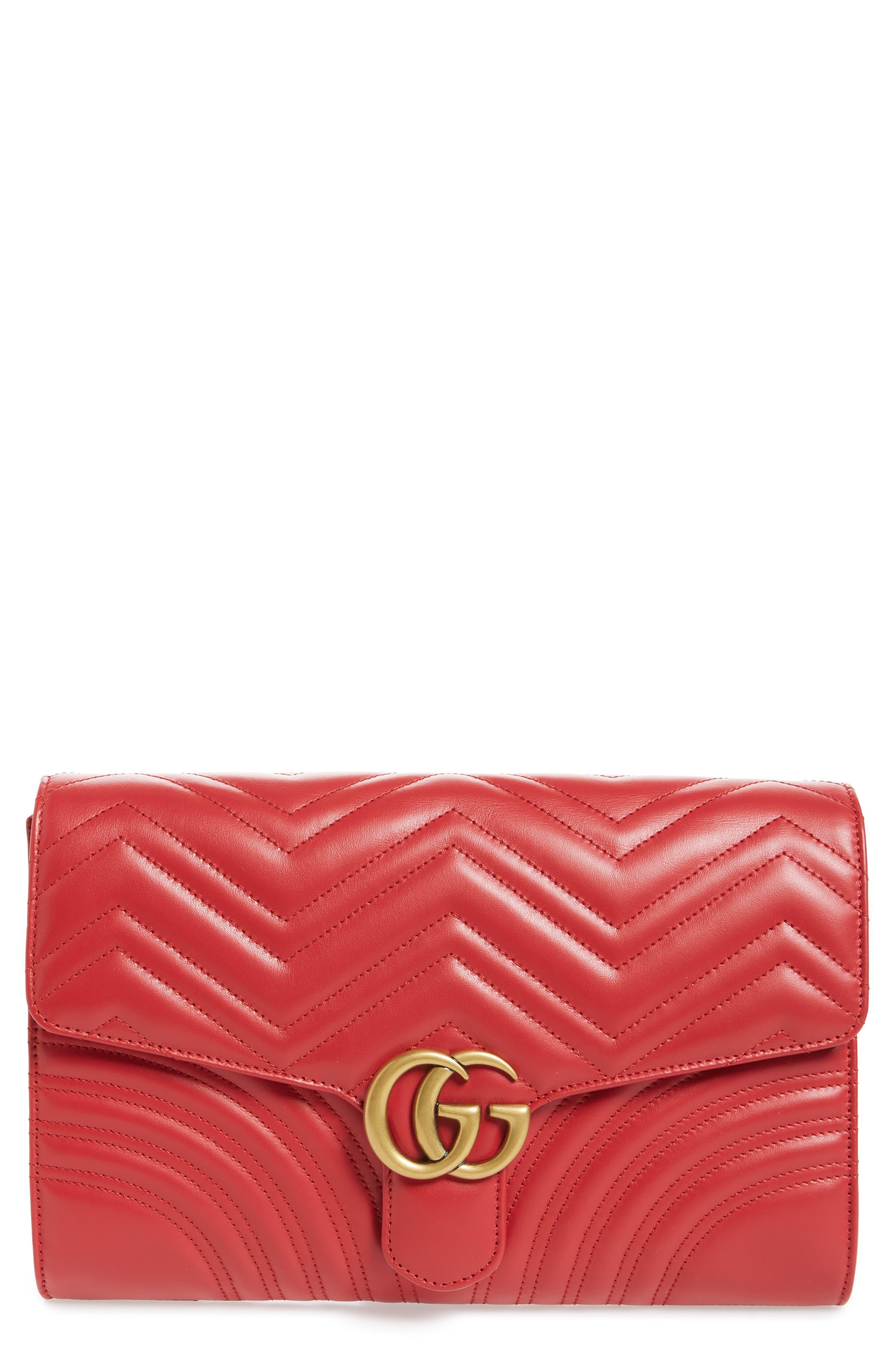 GG Marmont 2.0 Matelassé Leather Clutch,                             Main thumbnail 4, color,