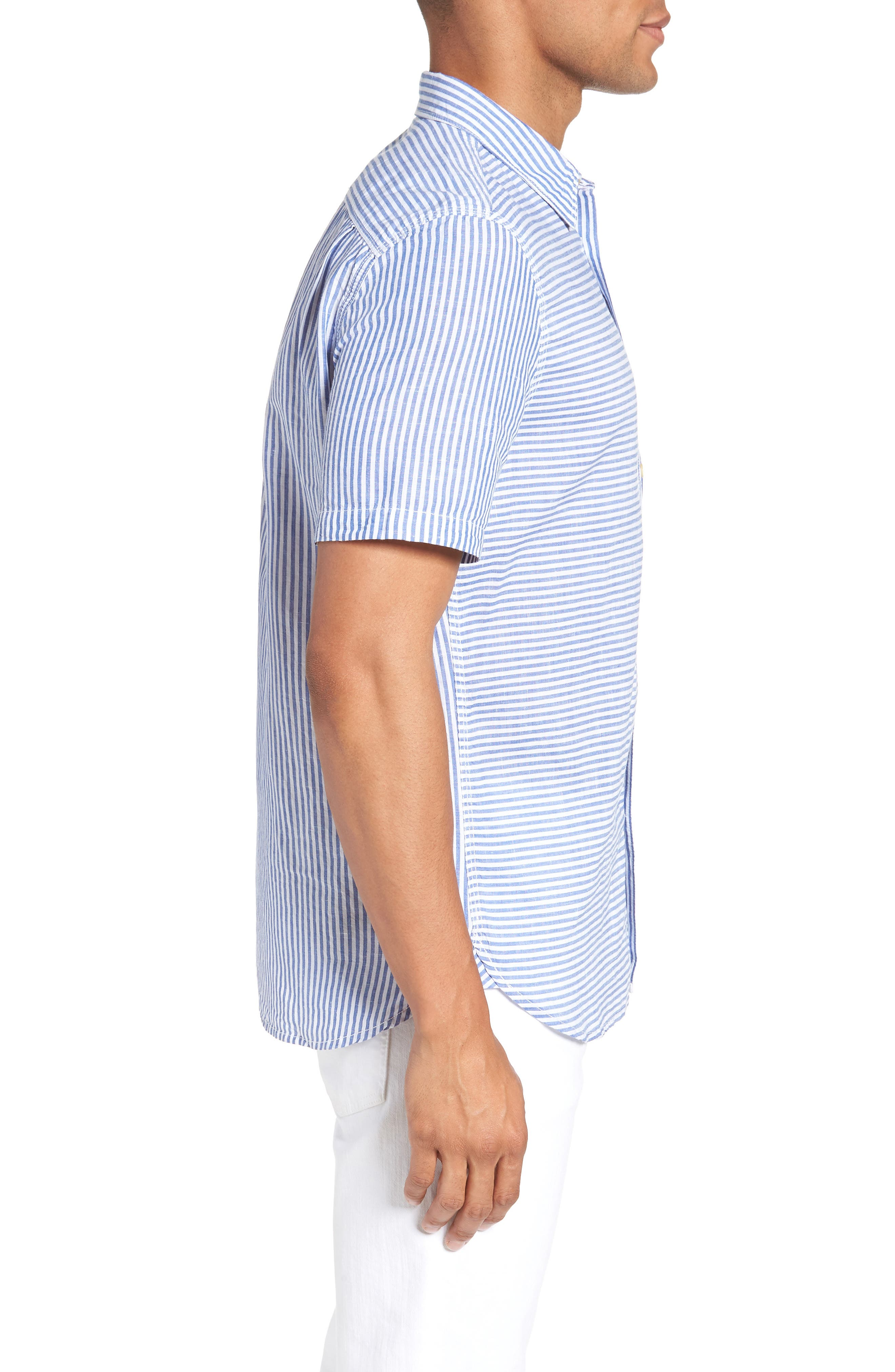 Stripe Chambray Cotton & Linen Sport Shirt,                             Alternate thumbnail 3, color,                             RICH BLUE