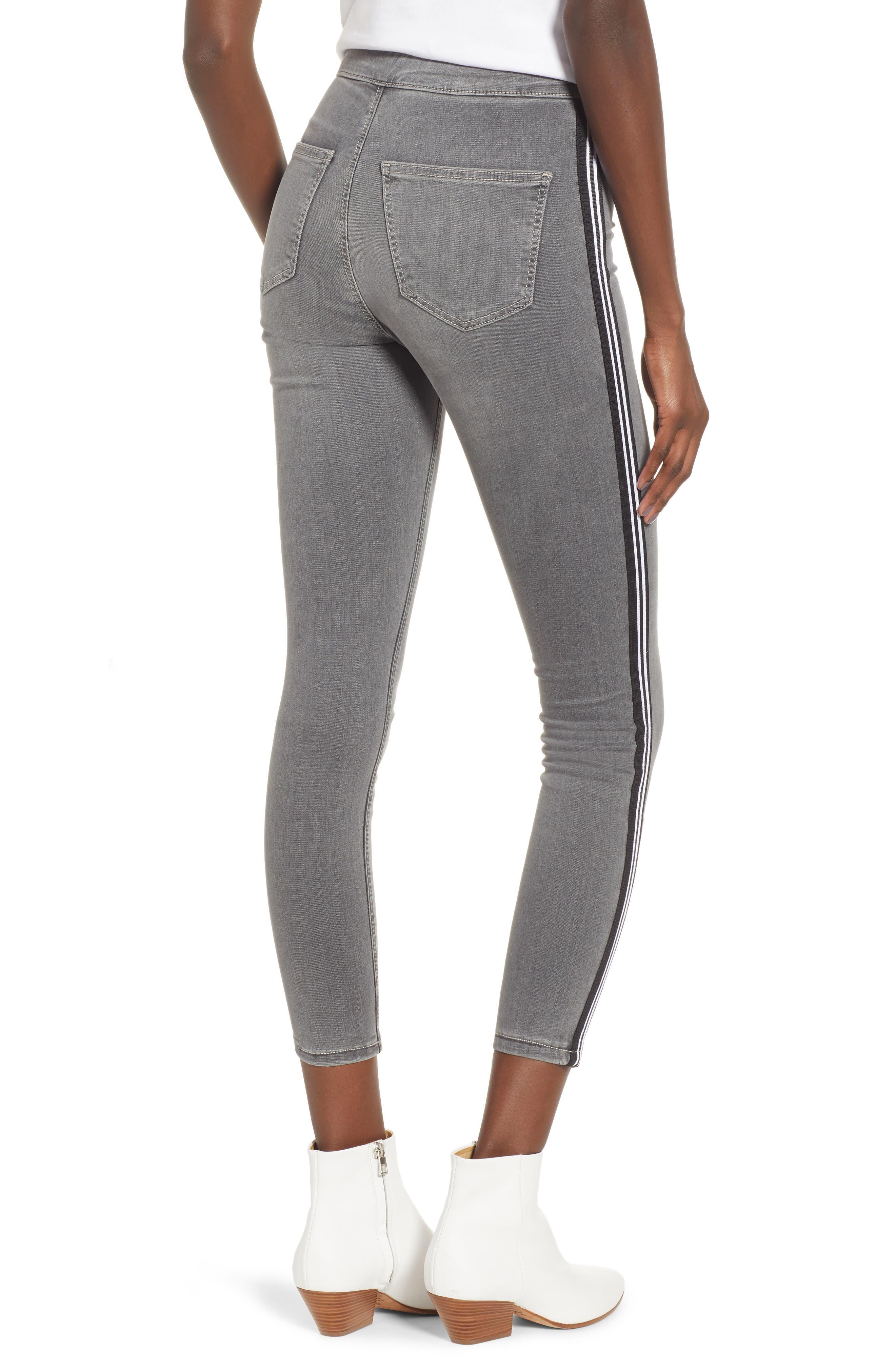 Joni Side Stripe Crop Skinny Jeans,                             Alternate thumbnail 2, color,                             GREY