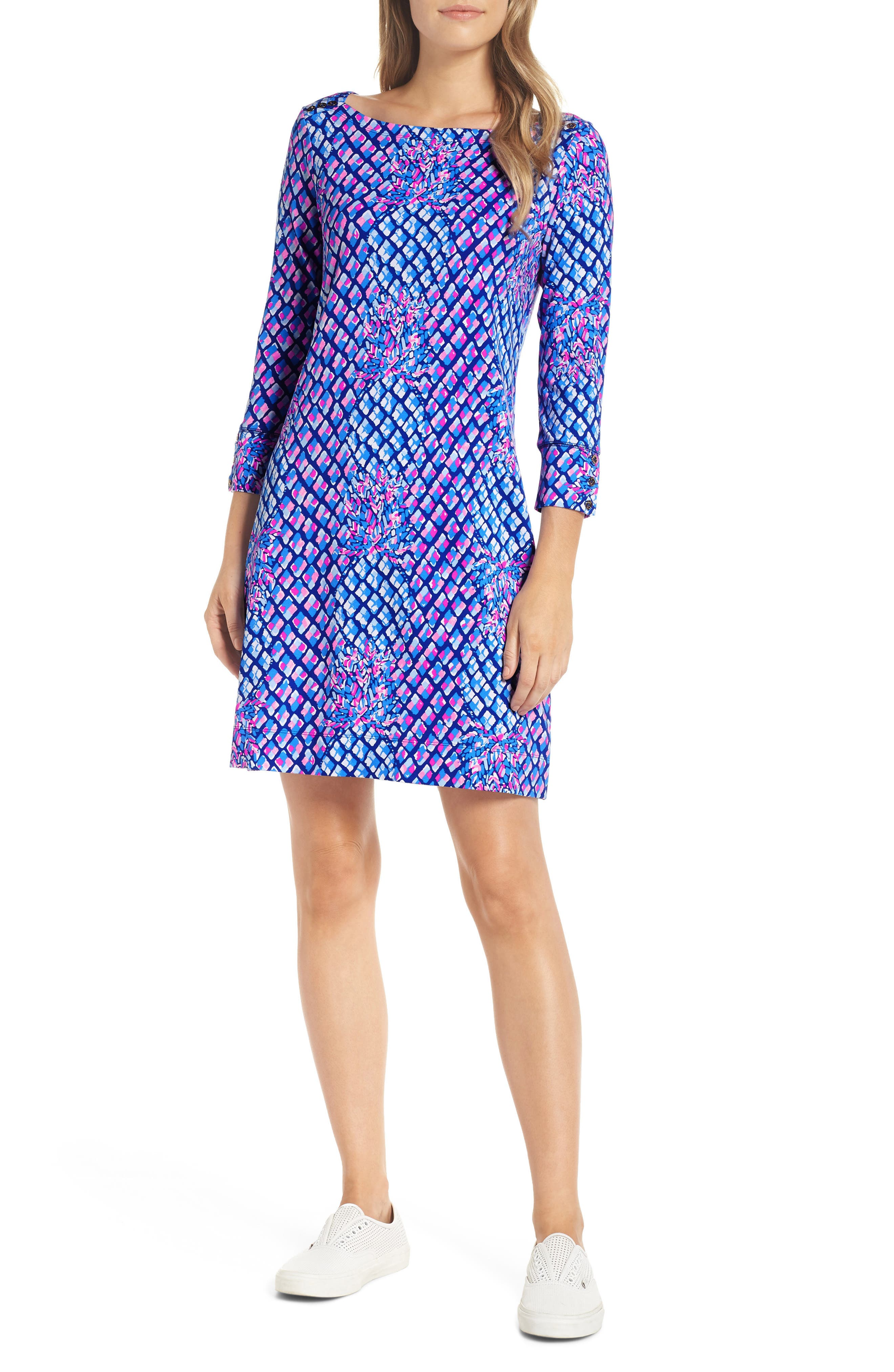 Sophie UPF 50+ Shift Dress, Main, color, ROYAL PURPLE TOE IN