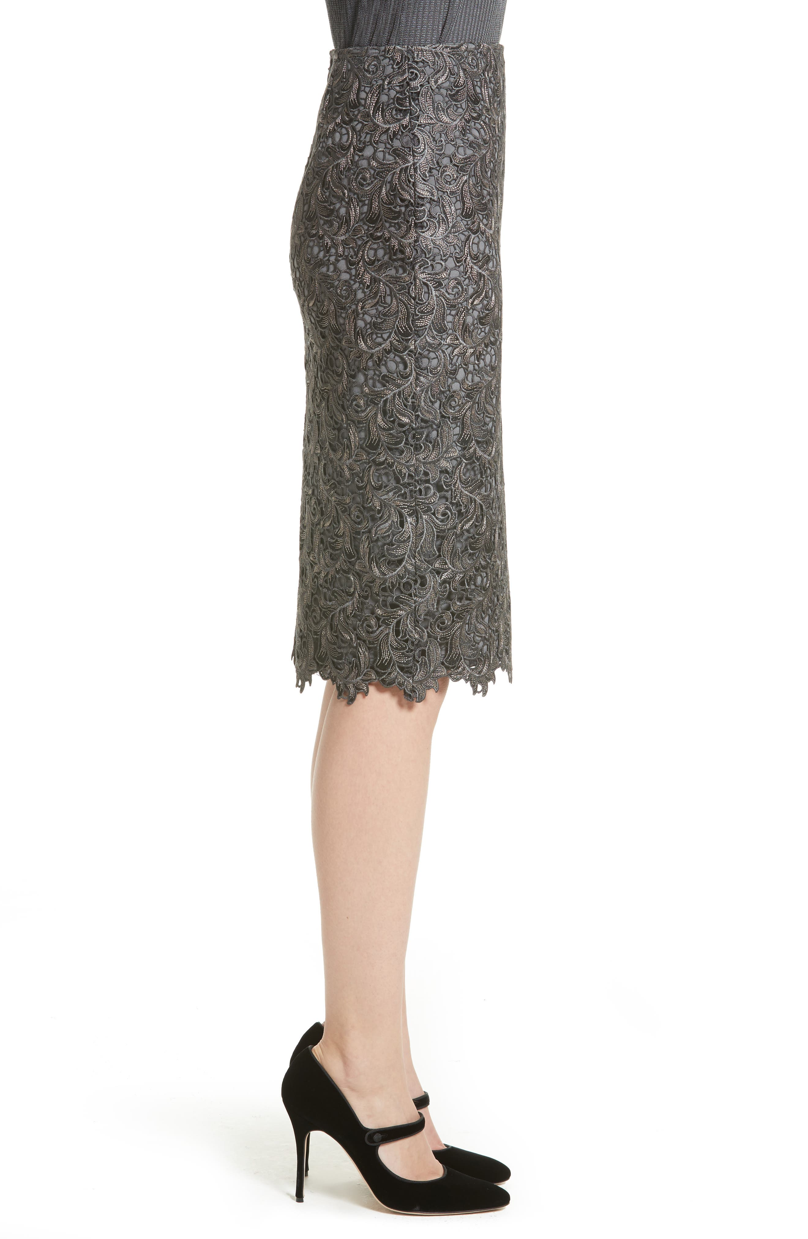 Plume Embroidered Lace Pencil Skirt,                             Alternate thumbnail 3, color,                             030