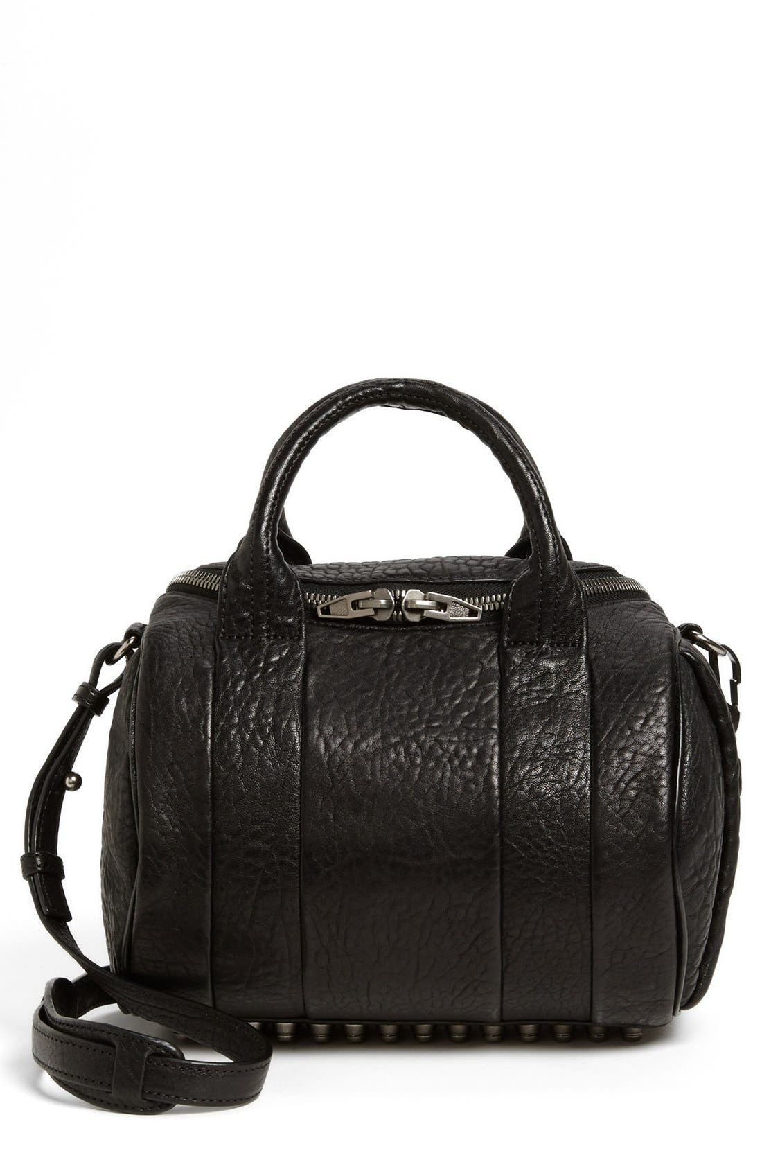 'Rockie - Black Nickel' Leather Crossbody Satchel,                             Main thumbnail 1, color,                             001