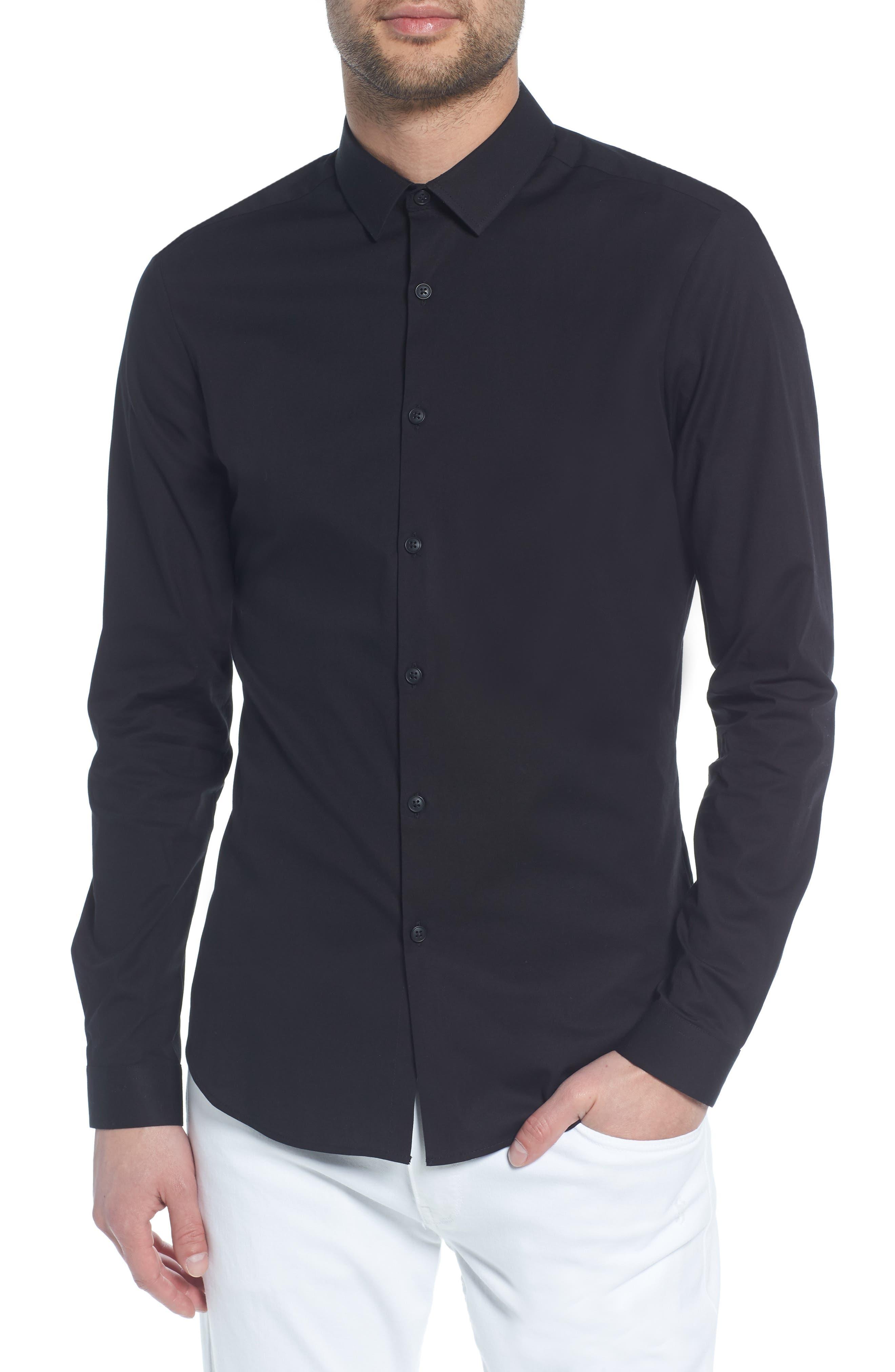 Stretch Skinny Fit Shirt,                         Main,                         color, BLACK