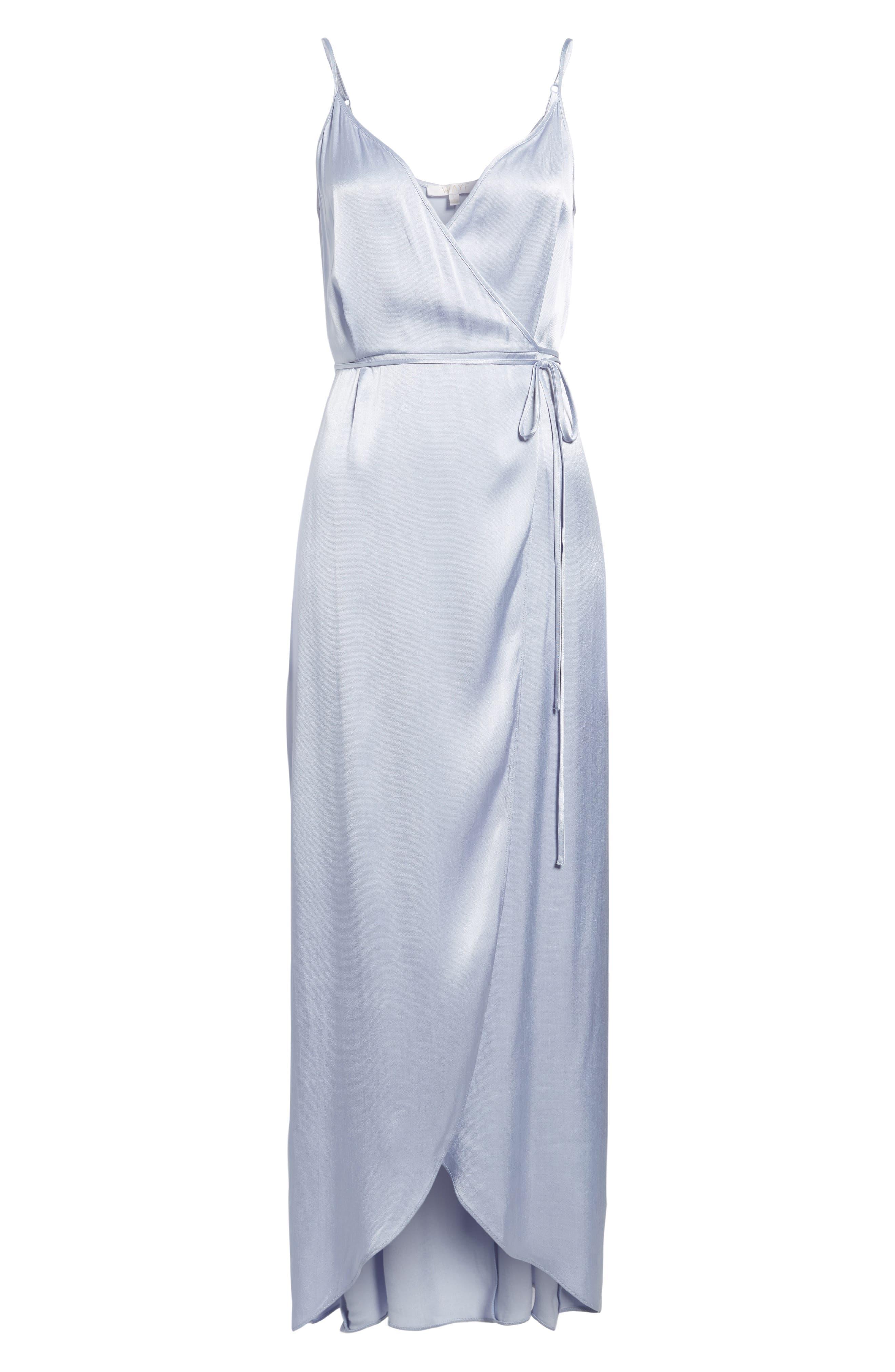 Teagan Satin Wrap Maxi Dress,                             Alternate thumbnail 6, color,                             400