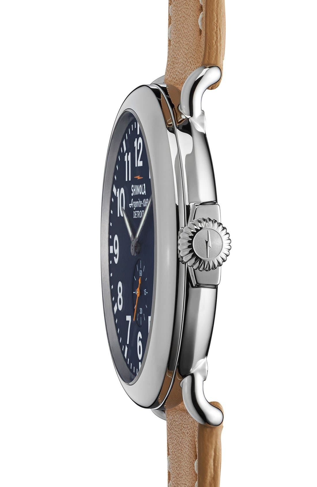 'The Runwell' Leather Strap Watch, 47mm,                             Alternate thumbnail 2, color,                             MIDNIGHT BLUE/ NATURAL