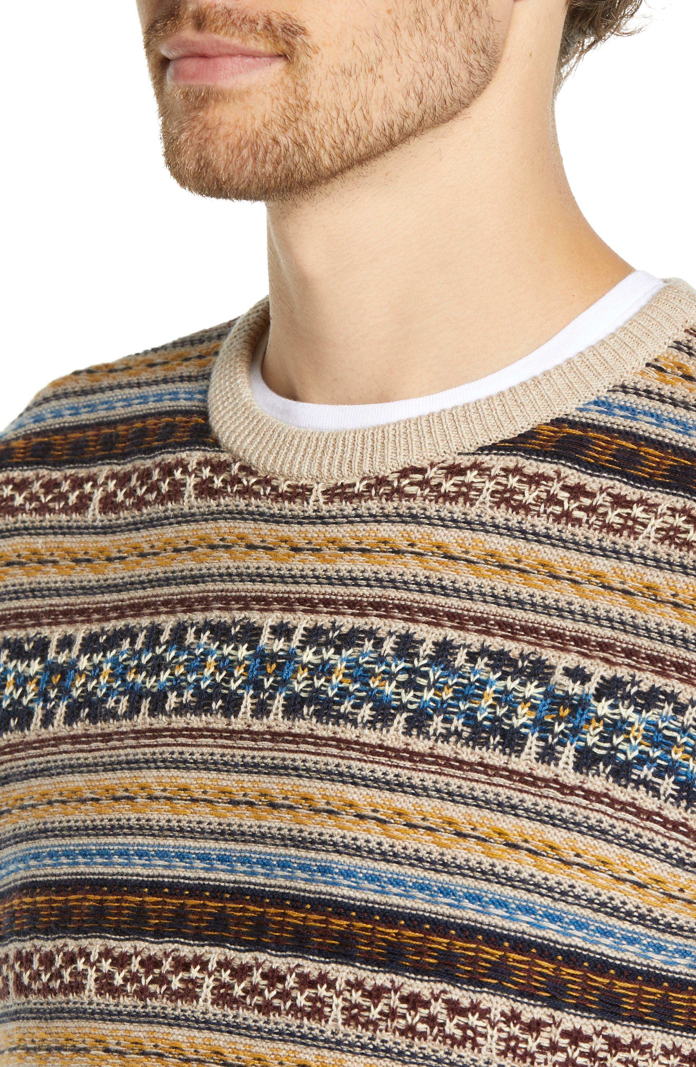 Regular Fit Fair Isle Crewneck Sweater,                             Alternate thumbnail 4, color,                             BROWN SIENA FAIRISLE