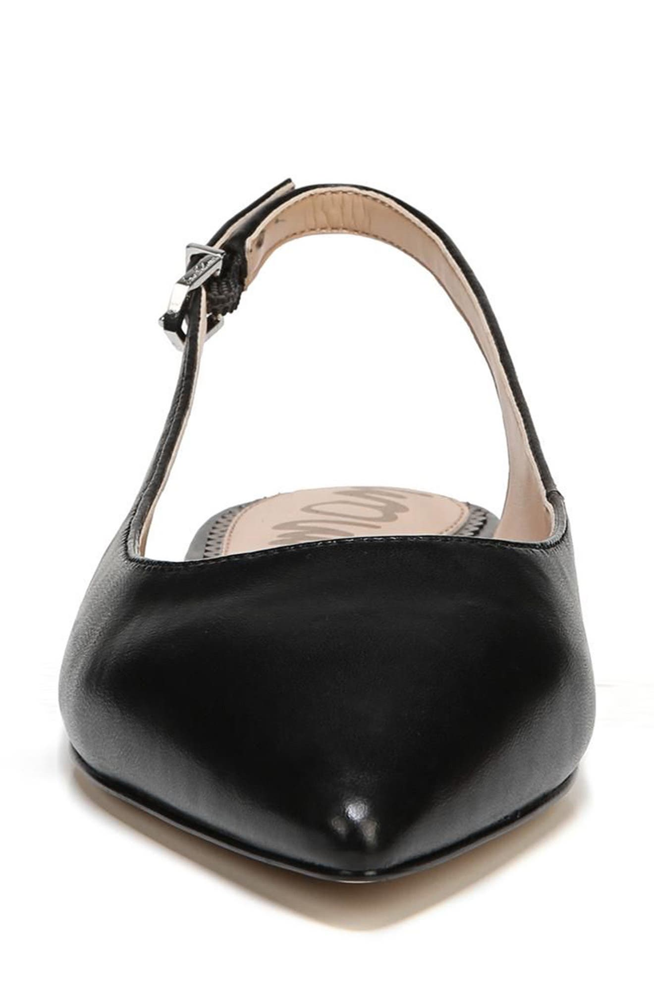 Raya Slingback Flat,                             Alternate thumbnail 4, color,                             BLACK LEATHER