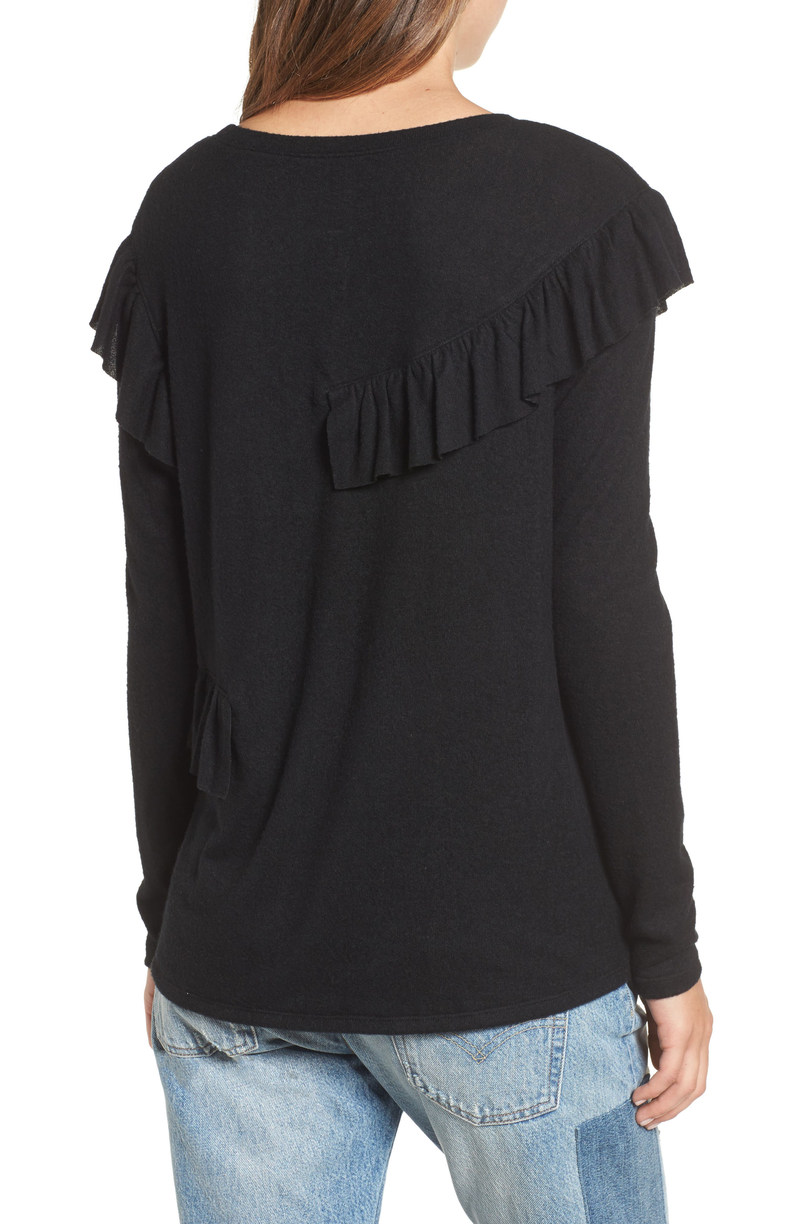 Ruffle Knit Top,                             Alternate thumbnail 3, color,