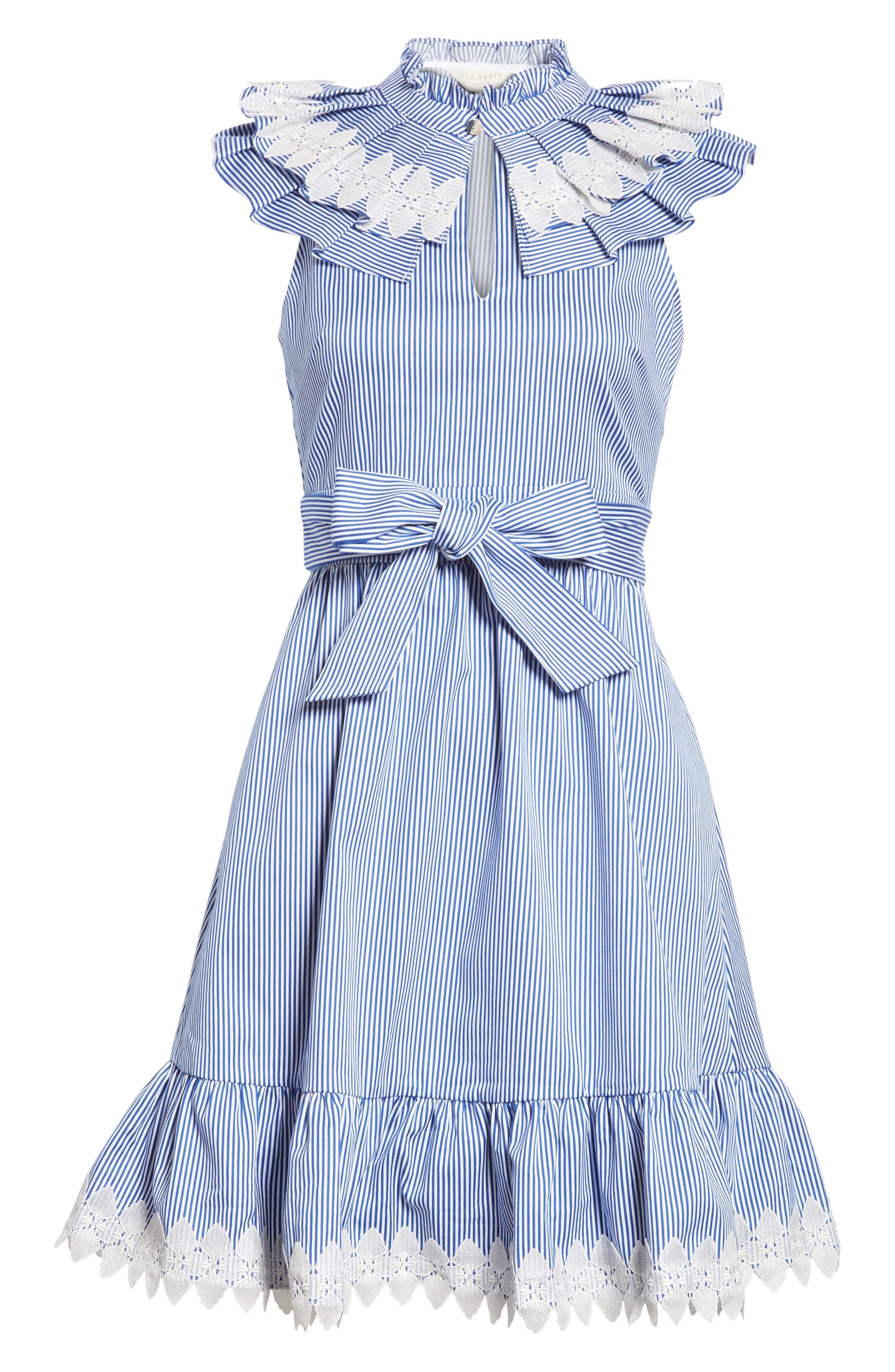 Stripe Frill Bib Fit & Flare Dress,                             Alternate thumbnail 6, color,                             110