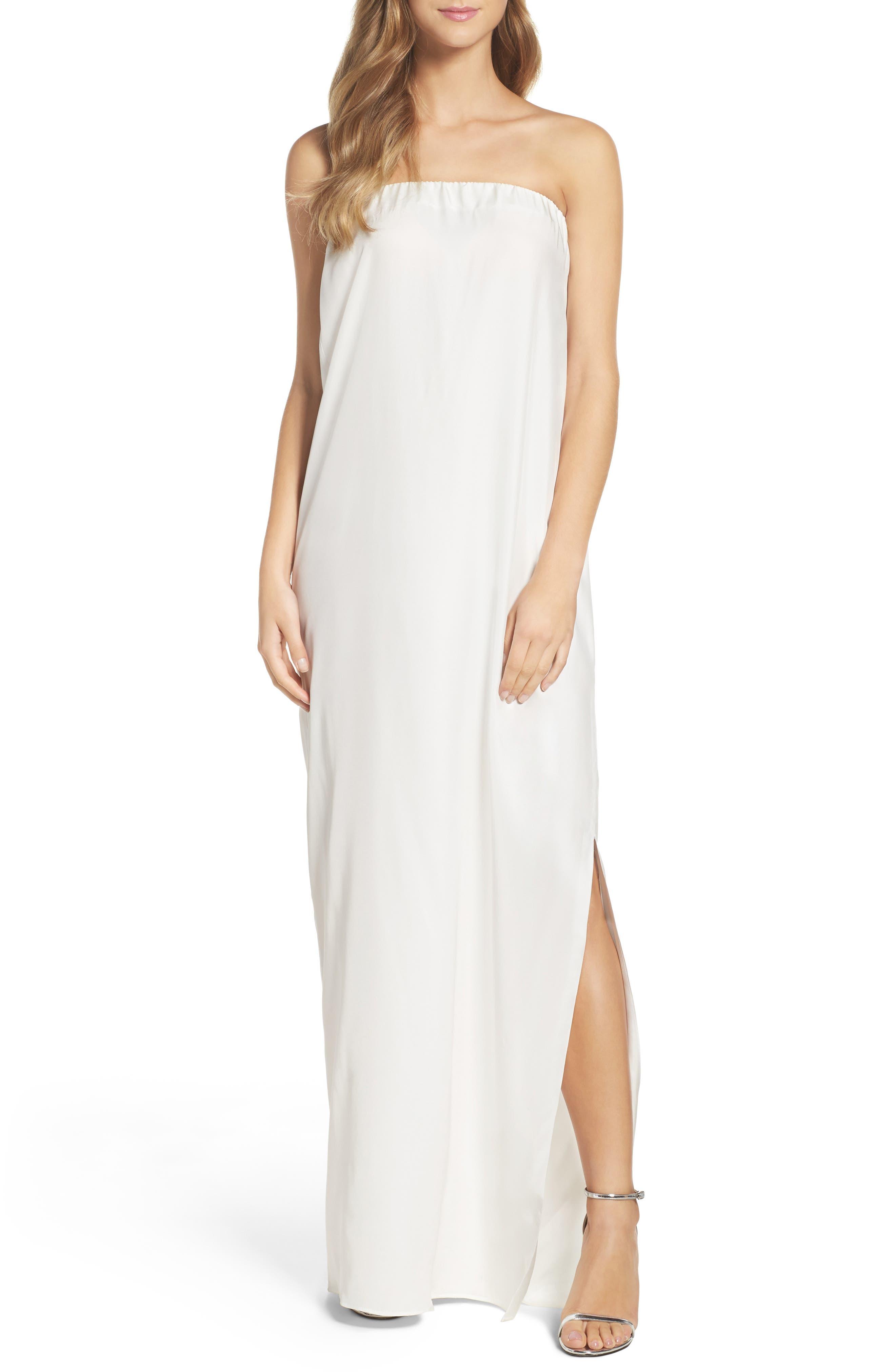 Strapless Silk Column Gown,                             Main thumbnail 1, color,                             100