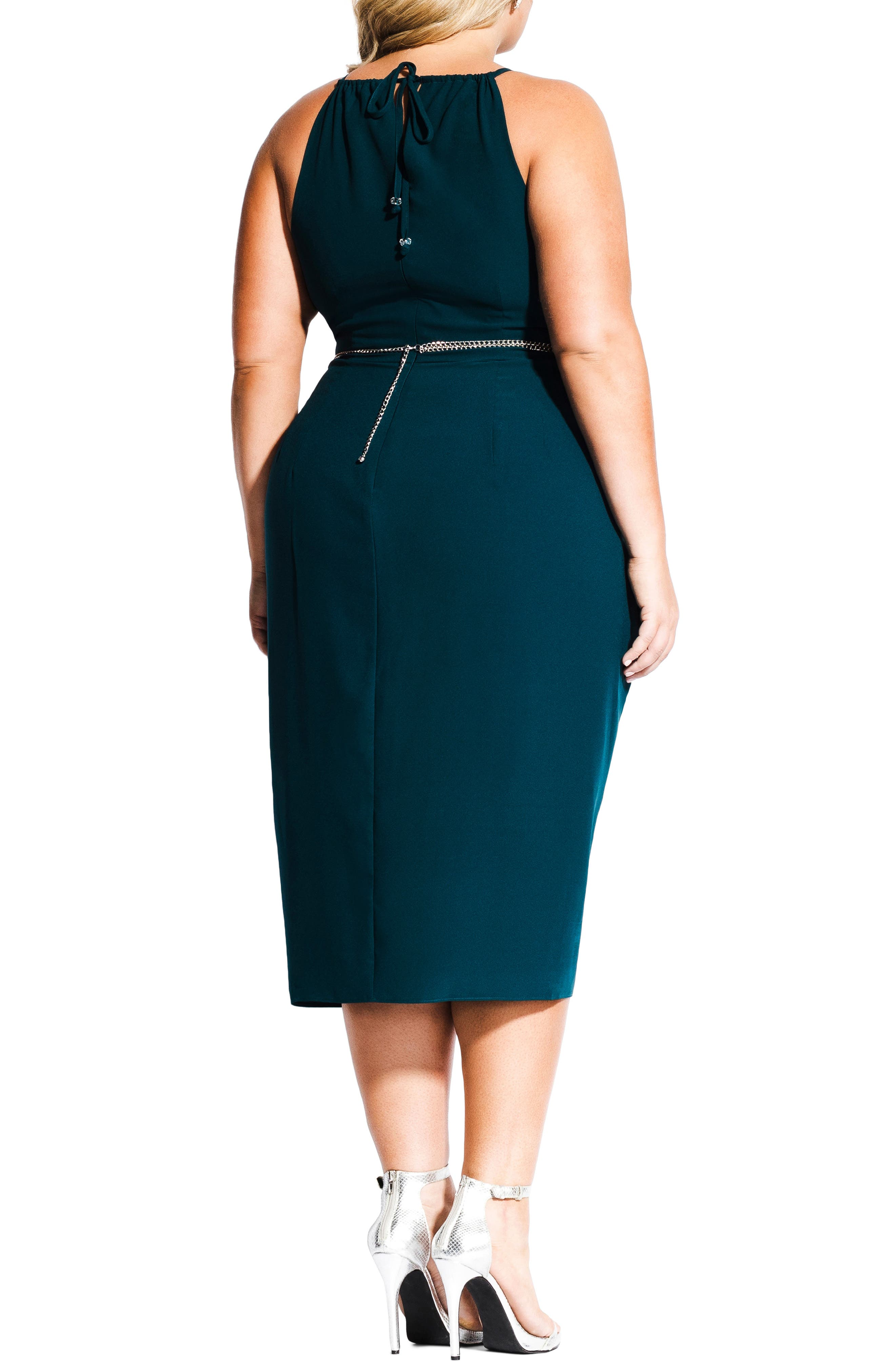 CITY CHIC,                             In Love Faux Wrap Dress,                             Alternate thumbnail 2, color,                             EMERALD