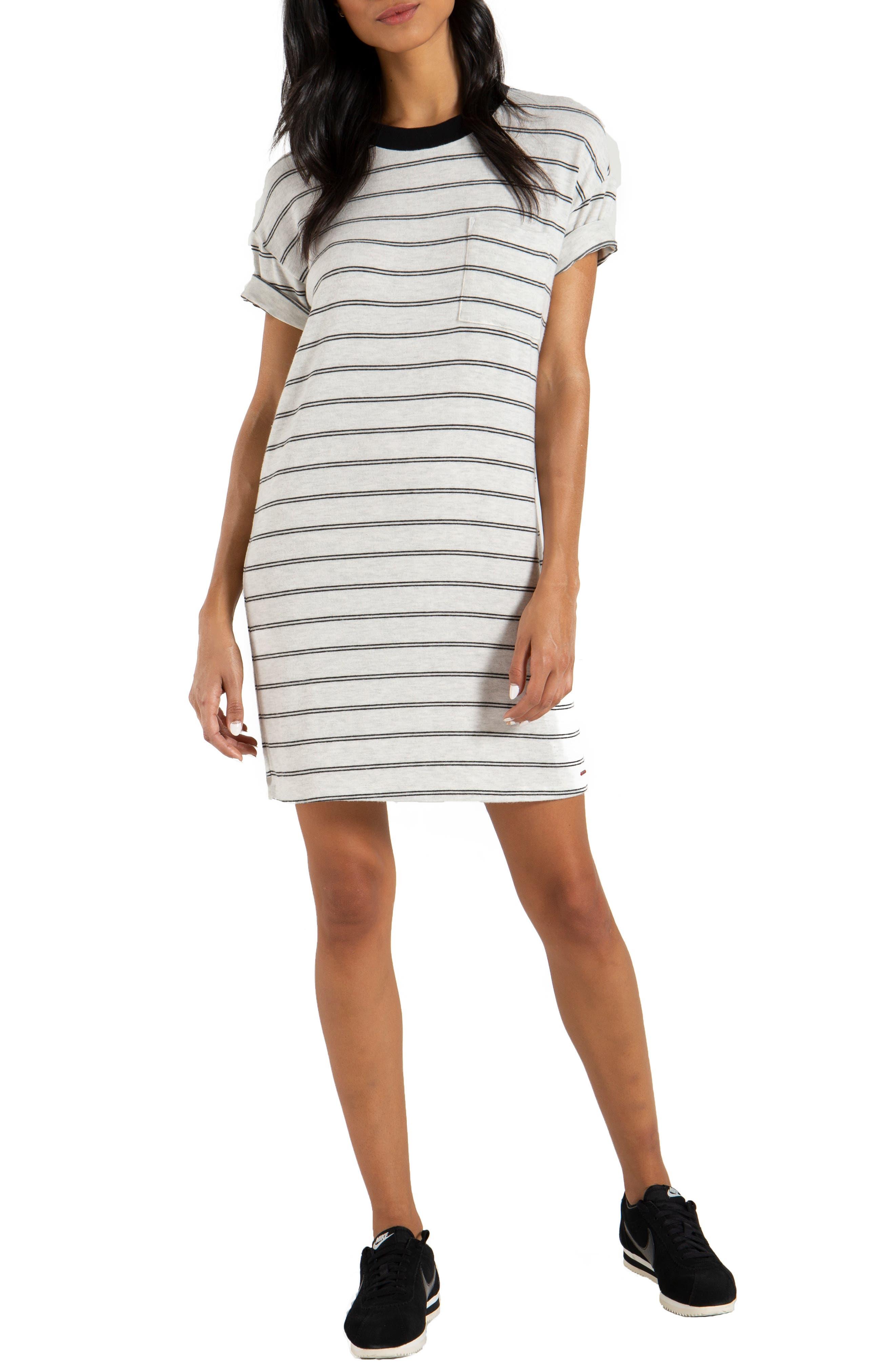 Cortez T-Shirt Dress in Black Stripe