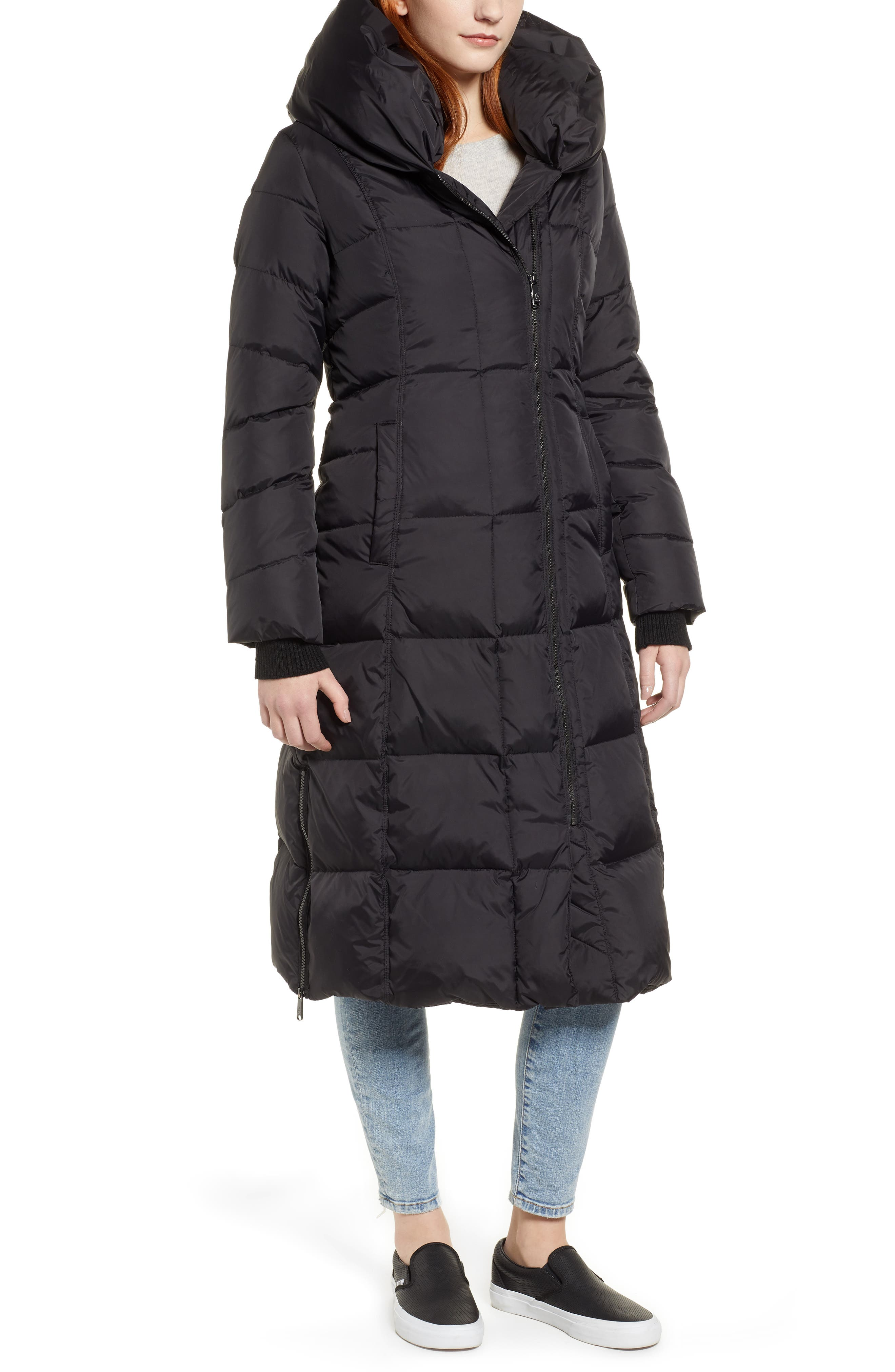Pillow Collar Quilted Down Long Coat,                             Alternate thumbnail 4, color,                             BLACK