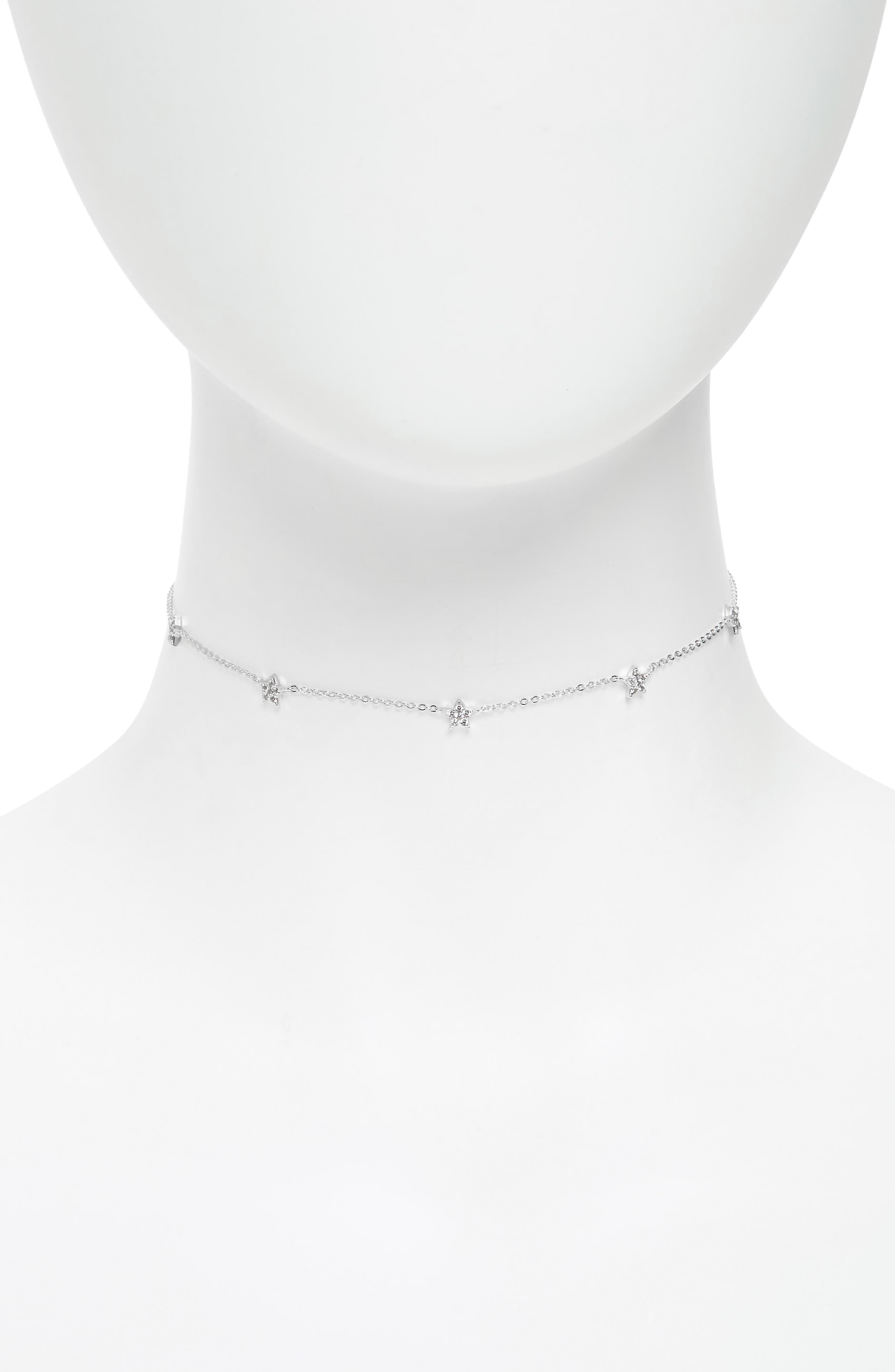 Pavé Star Choker Necklace,                         Main,                         color, SILVER