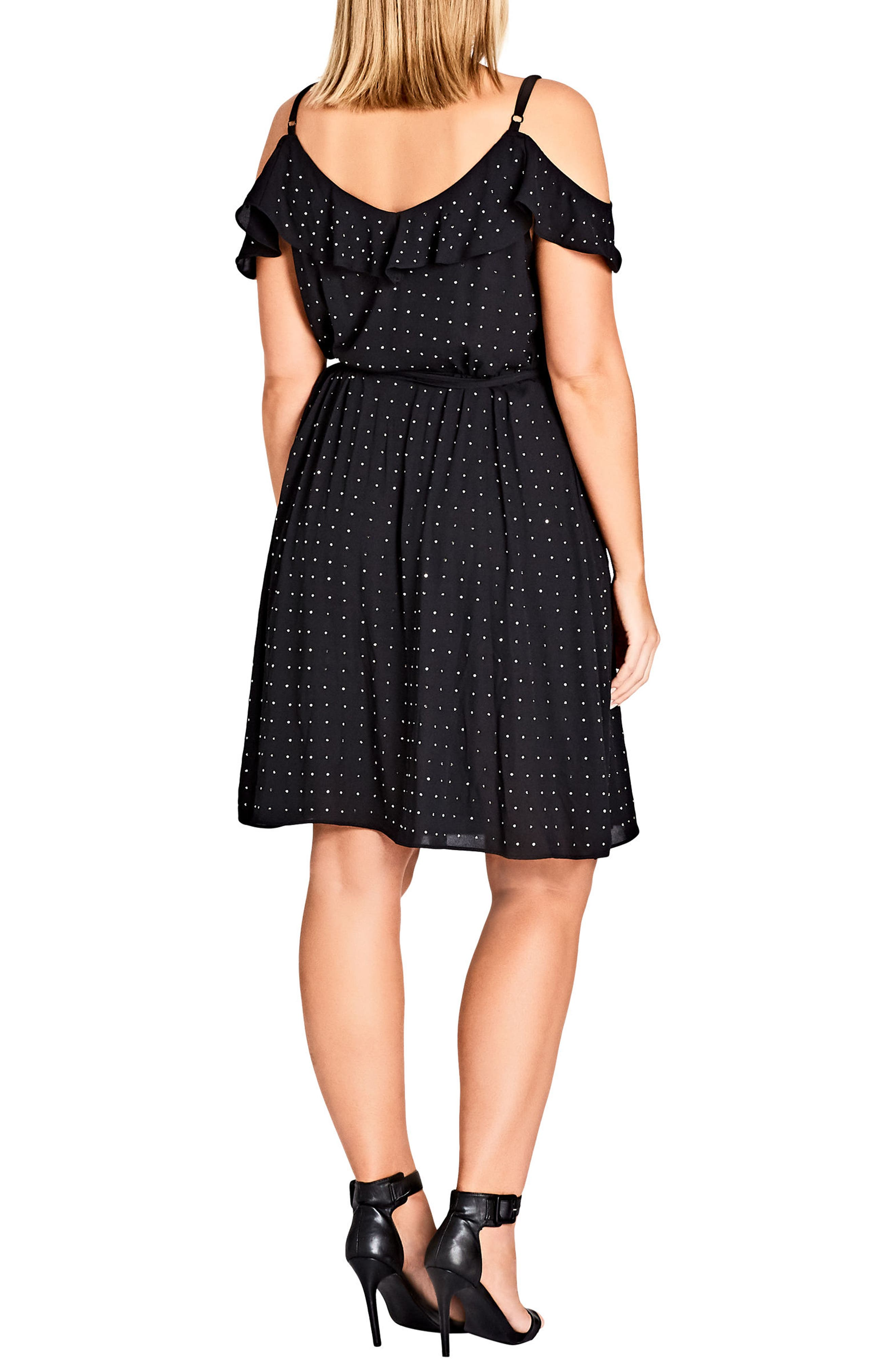 Flirty Bling Cold Shoulder Ruffle Fit & Flare Dress,                             Alternate thumbnail 2, color,                             001