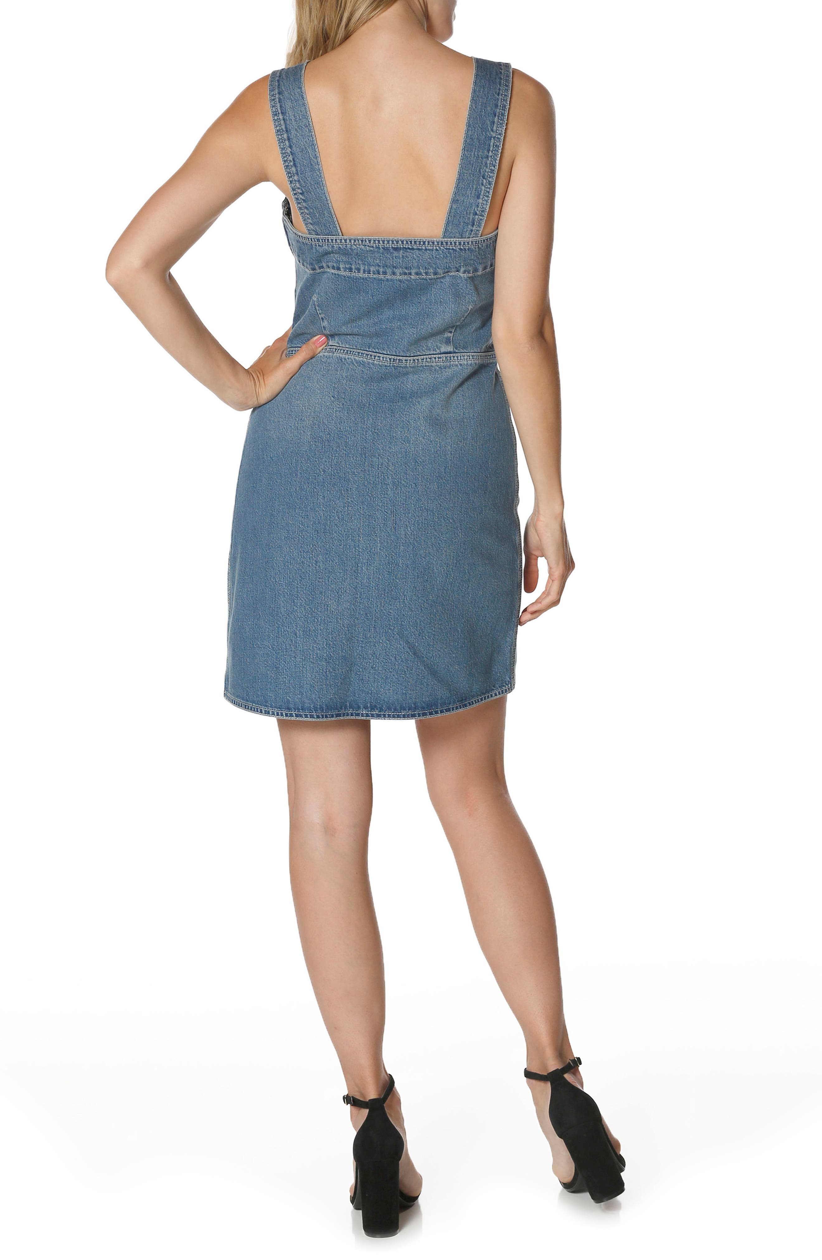 Tula Lace-Up Denim Dress,                             Alternate thumbnail 2, color,                             400